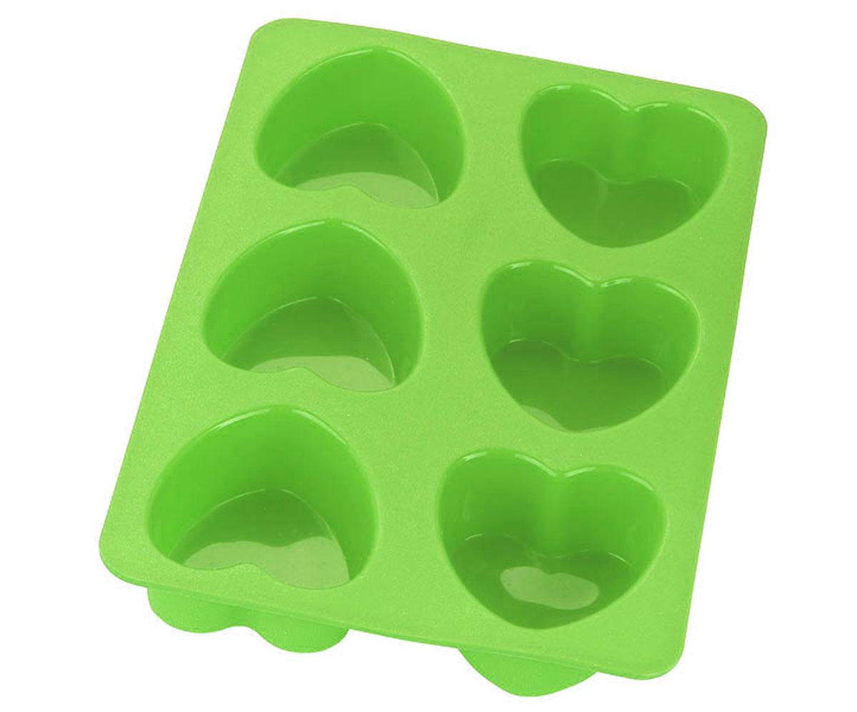 Форма для выпечки Calve Сердца, силиконовая, цвет: салатовый, 6 ячеекCL-4604_салатовыйФорма для выпечки Calve Сердца изготовлена из высококачественного силикона. Стенки формы легко гнутся, что позволяет легко достать готовую выпечку и сохранить аккуратный внешний вид блюда. Форма имеет 6 ячеек в виде сердец.Изделия из силикона очень удобны в использовании: пища в них не пригорает и не прилипает к стенкам, форма легко моется. Приготовленное блюдо можно очень просто вытащить, просто перевернув форму, при этом внешний вид блюда не нарушится. Изделие обладает эластичными свойствами: складывается без изломов, восстанавливает свою первоначальную форму. Порадуйте своих родных и близких любимой выпечкой в необычном исполнении. Подходит для приготовления в микроволновой печи и духовом шкафу при нагревании до +230°С; для замораживания до -40°.Можно мыть в посудомоечной машине. Размер ячейки: 6,5 х 7 х 3,5 см. Размер формы: 28 х 18,5 х 3,5 см.