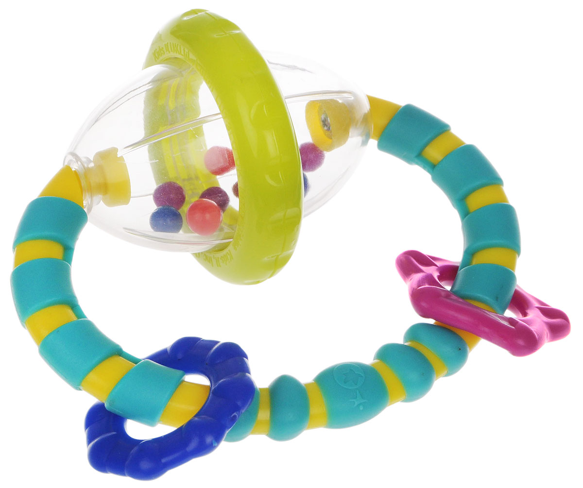 """Развивающая игрушка-погремушка """"Хватай и вращай"""" понравится вашему ребенку и станет для него любимой игрушкой. Игрушка выполнена в виде прозрачного овала с гремящими шариками внутри, к которому крепится пластиковое рельефное кольцо с тремя элементами различной формы. Овальная форма игрушки очень удобна для ручек малыша. Малыш с удовольствием будет вращать прозрачную сферу, наслаждаясь звуками гремящих разноцветных шариков. Игрушка способствует развитию мелкой моторики рук, цветовосприятия и звуковосприятия."""