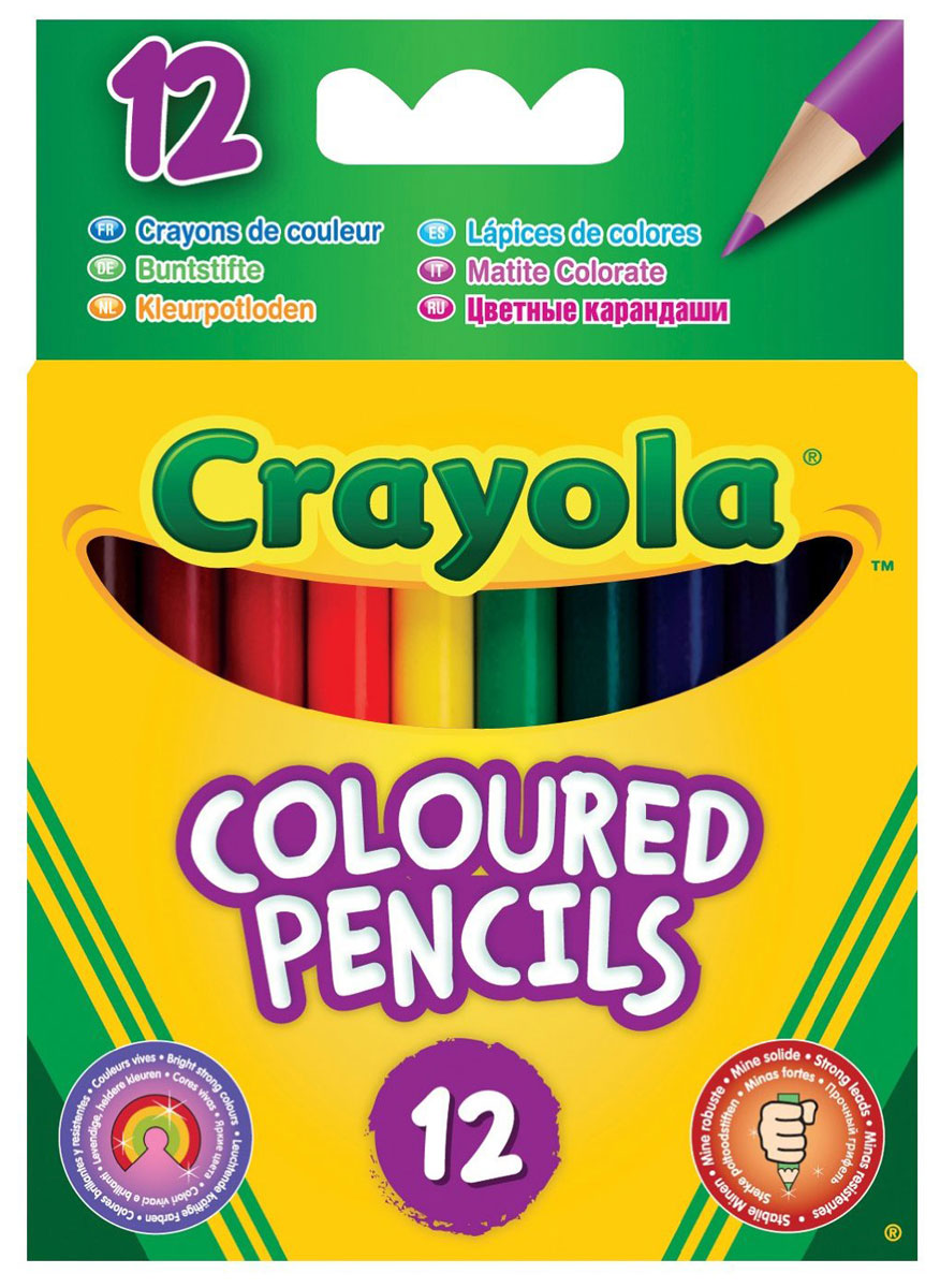 Crayola Набор коротких цветных карандашей 12 шт2010440Набор цветных карандашей от Crayola - это набор из 12 коротких цветных карандашей с круглым сечением, который предназначен для юных художников. Такие карандаши очень прочны. Благодаря увеличенному диаметру грифеля (0,33 см при диаметре карандаша 0,7 см) эти карандаши имеют повышенную стойкость к механическим повреждениям. Это значит, что если ребенок уронит карандаш или будет слишком сильно нажимать при рисовании, у грифеля меньше шансов расколоться.Карандаши сделаны из качественной гладкой древесины и их удобно точить.Рекомендуемый возраст: от 3-х лет.