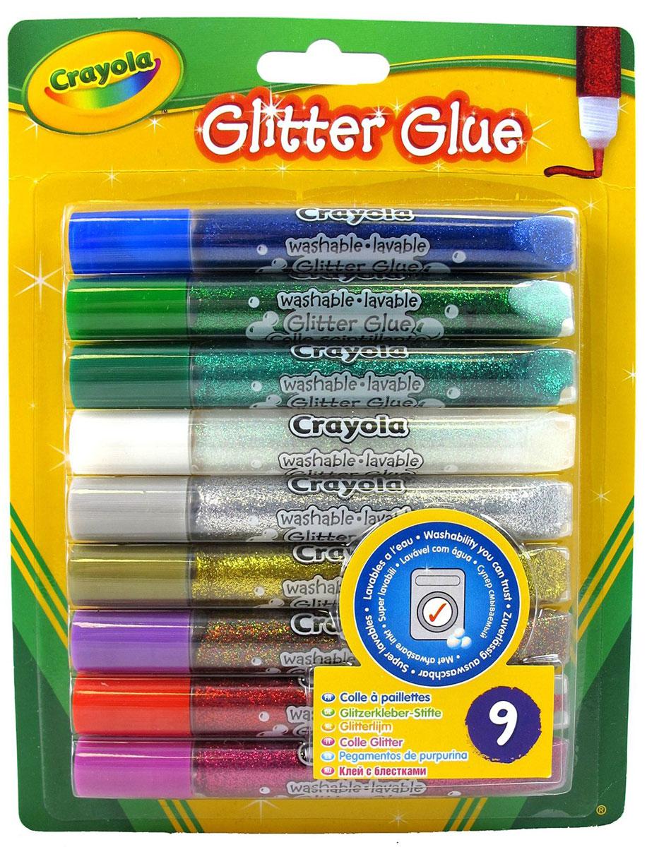 Crayola Клей с блестками для декорирования 9 цветов 3542FS-00102Клей с блестками Crayola можно использовать как для рисования, создавая рисунки с мерцающим эффектом, так и для склеивания отдельных частей бумаги. В набор входит клей с блестками красного, малинового, золотистого, серебристого, синего, зеленого, изумрудного, белого и разноцветного цветов.Специально разработанный тюбик с достаточно гибким наконечником позволяет варьировать ширину линии, увеличивая или уменьшая давление на корпус. Используя блестящий клей, дети смогут создать неповторимыерисунки, довести до совершенства поздравительные открытки, письма и многое другое!