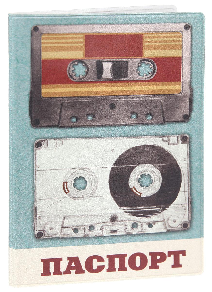 Обложка для паспорта Феникс-Презент Аудиокассеты, цвет: голубой, мультицвет. 3770637706Стильная обложка для паспорта Феникс-Презент Аудиокассеты изготовлена из поливинилхлорида и оформлена принтом с изображением в стиле ретро.Изделие раскладывается пополам. Внутри расположены два накладных кармана.Обложка для паспорта поможет сохранить внешний вид ваших документов и защитить их от повреждений, а также станет стильным аксессуаром, который подчеркнет ваш образ