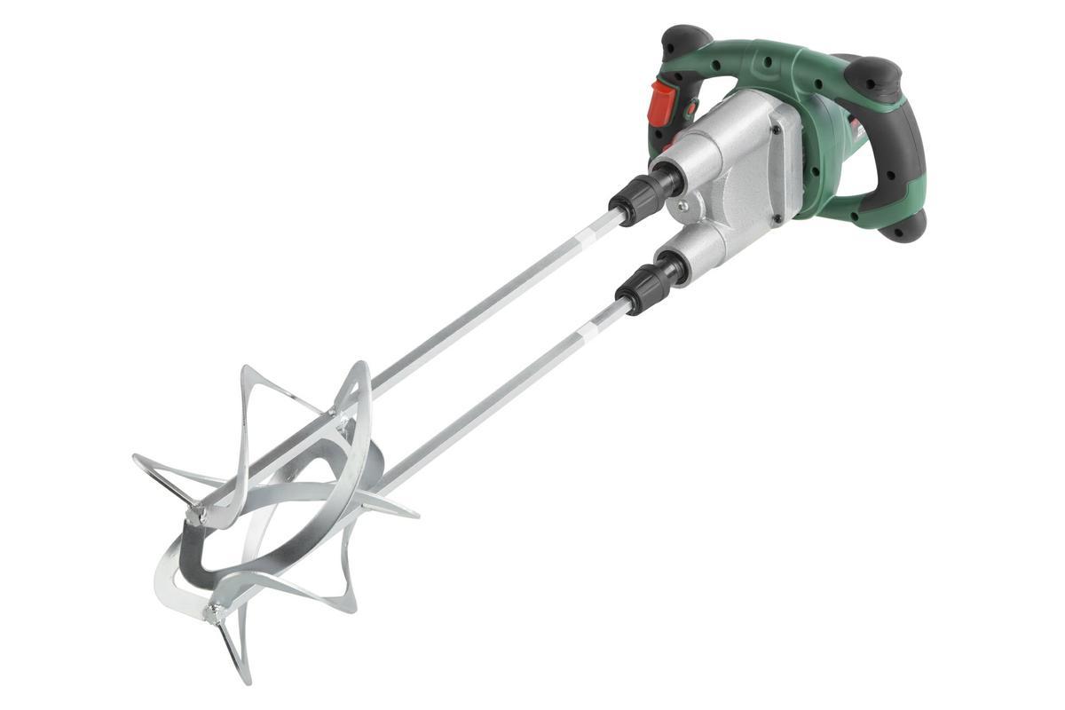 Миксер строительный Hammer Flex MXR1400A186915Миксер строительный Hammer Flex MXR1400A предназначен для размешивания строительных растворов, различных смесей и красок. Имеет две механические скорости. Электронный ограничитель скорости вращения не дает размешиваемому материалу разбрызгиваться. Модель имеет две насадки диаметром 120 мм и длиной 550 мм, которые обеспечивают высокую производительность. Корпус редуктора из металла гарантирует высокую точность геометрических размеров зубчатой передачи и обеспечивает быстрое охлаждение при интенсивных нагрузках, что в итоге обеспечивает бесперебойную работу. При длительных работах удобно использовать имеющийся у миксера фиксатор выключателя. Обрезиненные рукоятки обеспечивают комфорт во время использования. Особенности: шпиндель с шестигранным углублением под биты, ограничение пускового тока, электронная регулировка числа оборотов. Дополнительные характеристики: Максимальный объем размешивания: 180 л. Количество шпинделей: 2. Обороты: 0-450 / 0-610 об/мин. Тип патрона: HEX.