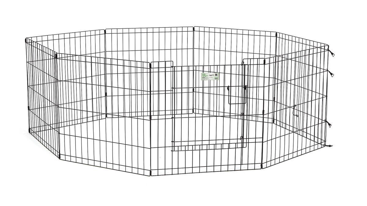 Вольер для животныx Midwest Life Stages, 8 панелей, цвет: черный, 61 x 61 смES-412Вольер для животных 8-ми панельный с дверью для использования в помещении и на улице.Запатентованная дверная система MAXLock повышает безопасность, предоставляя множество точек блокировки по периметру двери. Эргономичная ручка-замок позволяет легко и удобно управлять дверью одним движением, без сгибания коленей.Прочное покрытие вольера Electro-Coat обеспечивает долговечную защиту.Вольер легко складывается для удобного хранения и транспортировки, легко собирается, не требуется никаких инструментов или дополнительных деталей. В комплект включены угловые усилители, которые добавляют вес и поддерживают конфигурацию ограждения, они так же могут быть использованы для защиты напольного покрытия, и крепежи, которыми оснащена функциональная безопасная каркасная дверца.Ограниченная площадь:1,5 кв. метра.Возможные конфигурации вольера: квадрат, прямоугольник, восьмиугольник.Вес конструкции: 7,8 кг.Размер одной панели: 61 х 61 см.