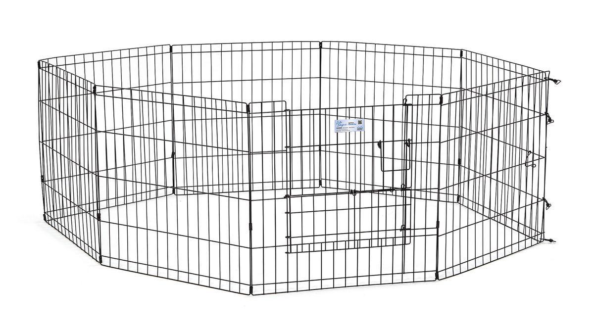 Вольер для животныx Midwest Life Stages, 8 панелей, цвет: черный, 61 x 61 см0120710Вольер для животных 8-ми панельный с дверью для использования в помещении и на улице.Запатентованная дверная система MAXLock повышает безопасность, предоставляя множество точек блокировки по периметру двери. Эргономичная ручка-замок позволяет легко и удобно управлять дверью одним движением, без сгибания коленей.Прочное покрытие вольера Electro-Coat обеспечивает долговечную защиту.Вольер легко складывается для удобного хранения и транспортировки, легко собирается, не требуется никаких инструментов или дополнительных деталей. В комплект включены угловые усилители, которые добавляют вес и поддерживают конфигурацию ограждения, они так же могут быть использованы для защиты напольного покрытия, и крепежи, которыми оснащена функциональная безопасная каркасная дверца.Ограниченная площадь: 1,5 кв. метра.Возможные конфигурации вольера: квадрат, прямоугольник, восьмиугольник.Вес конструкции: 7,8 кг.Размер одной панели: 61 х 61 см.