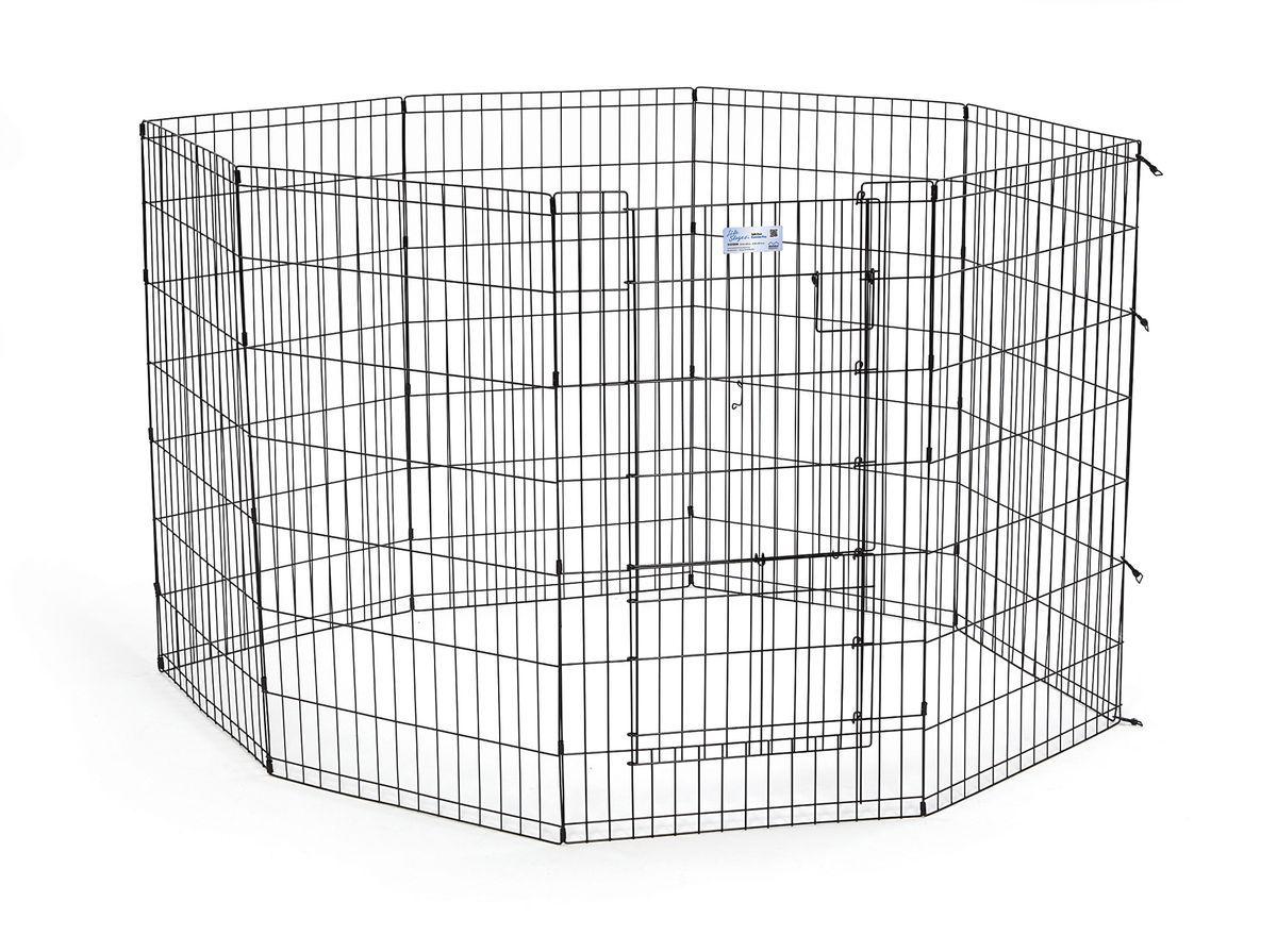 Вольер для животныx Midwest Life Stages, 8 панелей, цвет: черный, 61 x 107 см24872/266820Вольер для животных 8-ми панельный с дверью для использования в помещении и на улице.Запатентованная дверная система MAXLock повышает безопасность, предоставляя множество точек блокировки по периметру двери. Эргономичная ручка-замок позволяет легко и удобно управлять дверью одним движением, без сгибания коленей.Прочное покрытие вольера Electro-Coat обеспечивает долговечную защиту.Вольер легко складывается для удобного хранения и транспортировки, легко собирается, не требуется никаких инструментов или дополнительных деталей. В комплект включены угловые усилители, которые добавляют вес и поддерживают конфигурацию ограждения, они так же могут быть использованы для защиты напольного покрытия, и крепежи, которыми оснащена функциональная безопасная каркасная дверца.Ограниченная площадь:1,5 кв. метра.Возможные конфигурации вольера: квадрат, прямоугольник, восьмиугольник.Вес конструкции: 12,5 кг.Размер одной панели: 61х107 см.