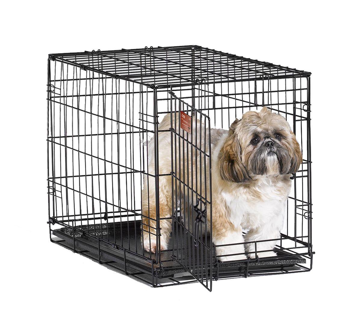Клетка для собак Midwest iCrate, 1 дверь, цвет: черный, 61 х 46 х 48 см1524Клетка Midwest iCrate разработана специально для транспортировки средних и малых собак. Закругленная угловая защита обеспечивает безопасность питомцам и людям. Клетка из нержавеющей стали оснащена: - одной надежной дверкой; - безопасным двойным замком (задвижка закрывает и снаружи и внутри); - прочным пластиковым поддоном, который не повреждает поверхность, на которой размещается; - разделяющей панелью, обеспечивающей создание универсальных отсеков; - качественными ручками для переноски питомца.Размер клетки (ДхШхВ): 61 см х 46 см х 48 см. Вес конструкции: 7 кг.Товар сертифицирован.