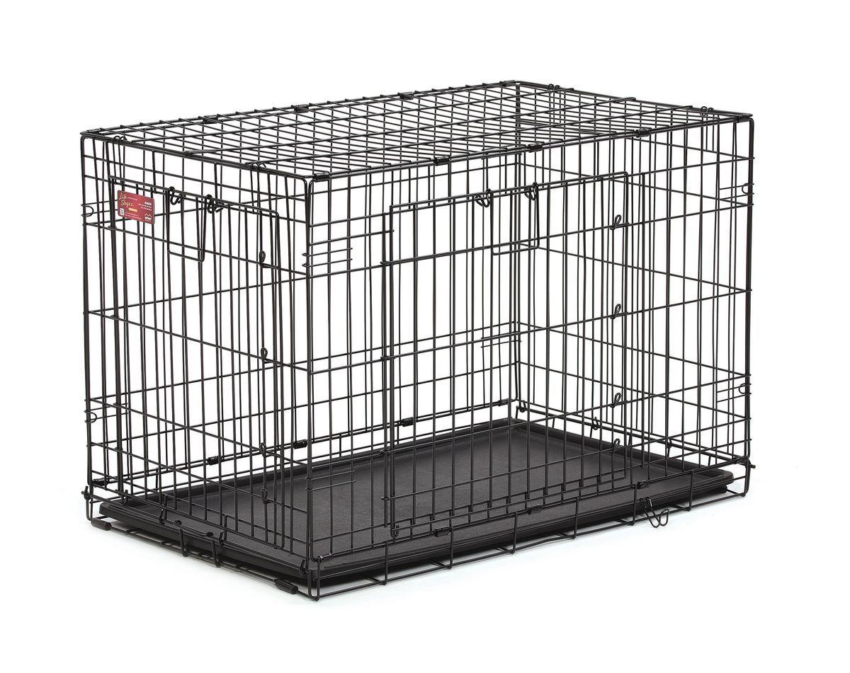 Клетка Midwest Life Stage A.C.E., 2 двери, 93,3 x 57,1 x 62,86 см06002Клетка Midwest  Life Stag A.C.E. разработана специально для транспортировки средних и крупных собак. Закругленная угловая защита обеспечивает безопасность питомцам и людям. Клетка из нержавеющей стали оснащена: - двумя надежными дверками; - безопасным двойным замком (задвижка закрывает и снаружи и внутри); - прочным пластиковым поддоном, который не повреждает поверхность, на которой размещается; - разделяющей панелью, обеспечивающей создание универсальных отсеков; - качественными ручками для переноски питомца.Размер клетки (ДхШхВ): 93,3 x 57,1 x 62,86 см. Вес конструкции: 10,7 кг.Товар сертифицирован.