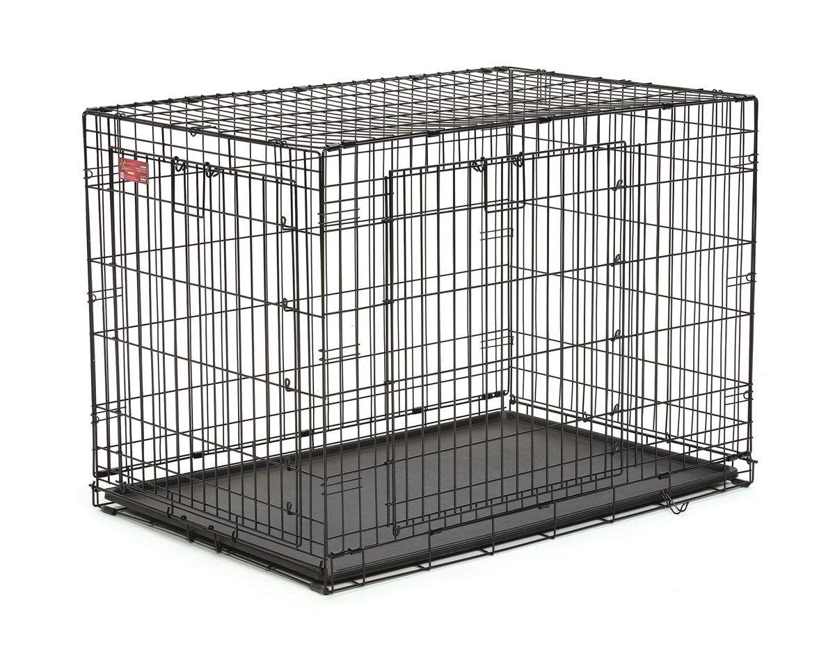 Клетка Midwest Life Stage A.C.E., 2 двери, 109,8 x 74,3 x 77,5 см442DDКлетка Midwest  Life Stag A.C.E. разработана специально для транспортировки средних и крупных собак. Закругленная угловая защита обеспечивает безопасность питомцам и людям. Клетка из нержавеющей стали оснащена: - двумя надежными дверками; - безопасным двойным замком (задвижка закрывает и снаружи и внутри); - прочным пластиковым поддоном, который не повреждает поверхность, на которой размещается; - разделяющей панелью, обеспечивающей создание универсальных отсеков; - качественными ручками для переноски питомца.Размер клетки (ДхШхВ): 109,8 x 74,3 x 77,5 см. Вес конструкции: 15,7 кг.Товар сертифицирован.