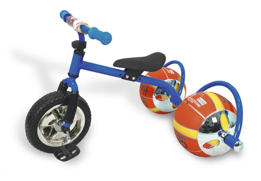 Bradex Велосипед Баскетбайк цвет синийDE 0105Велосипед Bradex - одно из самых простых и вместе с тем совершенных изобретений человечества. О своем велосипеде мечтает каждый ребенок. Что может сделать его лучше? Только мяч в виде колеса! Почему бы не совместить все лучшее в спорте в одном предмете? Удобно, практично, не занимает много места, а главное - надежно. Угнать такой байк - невозможно. Пока ваш ребенок играет с друзьями в мяч, его велосипед будет в полной безопасности. Средство передвижения выдерживает до 30 килограмм и подарит малышу множество счастливых спортивных часов. Увлеченный игрой он и не заметит, как улучшится работа легких, ноги станут более натренированными, улучшится координация, а сам он приобретет полезную привычку – заниматься спортом – которая улучшит его жизнь. Подарите своему ребенку шанс на здоровое, счастливое будущее. Увлеките его спортом, с помощью оригинального велосипеда с мячами вместо колес!