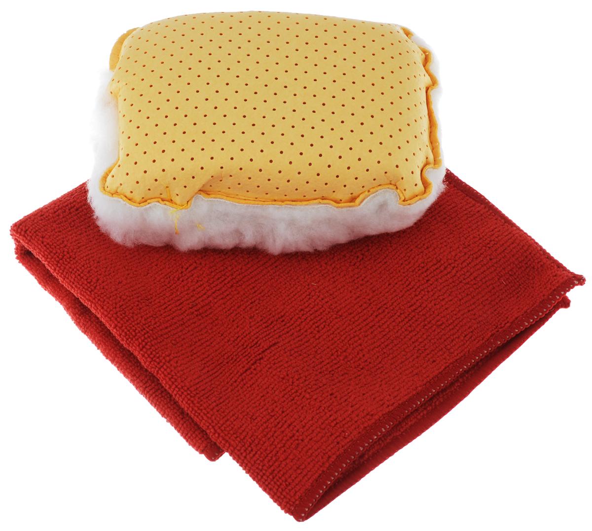 Набор для мытья и полировки автомобиля Pingo, цвет: желтый, красный, 2 предметаSATURN CANCARDНабор для мытья и полировки автомобиля Pingo состоит из универсальной губки с мехом и салфетки из микрофибры. Универсальная губка с мехом предназначена для удаления влаги или конденсации с запотевших стекол. Меховая сторона губки может применяться для нанесения полироли на кузов автомобиля. Салфетка из микрофибры предназначена для полировки кузова автомобиля, для чистки лобового стекла, пластика и хрома. Может быть использована без химических средств, отлично впитывает воду, пыль и грязь. Сильно загрязненную салфетку промыть в теплой воде. При стирке не использовать отбеливатель и смягчающие средства, не гладить.Состав губки: 80% вискоза, 20% полипропилен, мех, полиэстер, пенополиуретан.Состав салфетки: 70% полиэстер, 30% полиамид.Размер губки: 13 х 9 х 5 см.Размер салфетки: 32 х 32 см.