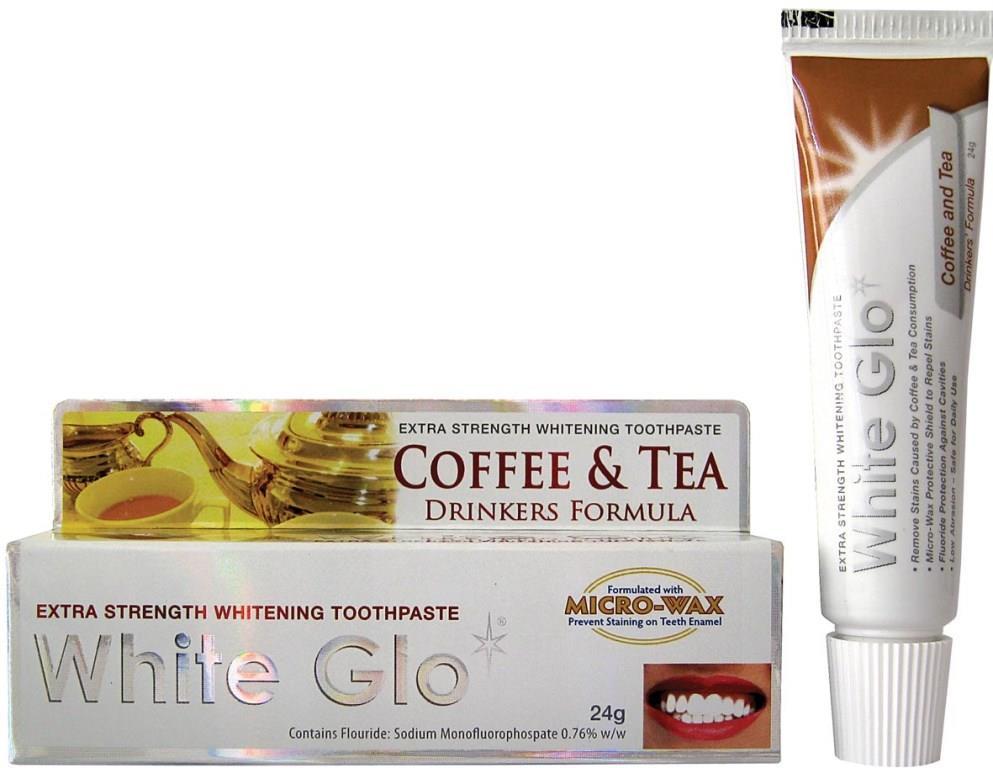 White Glo Зубная паста, отбеливающая для любителей кофе и чая, 24 г