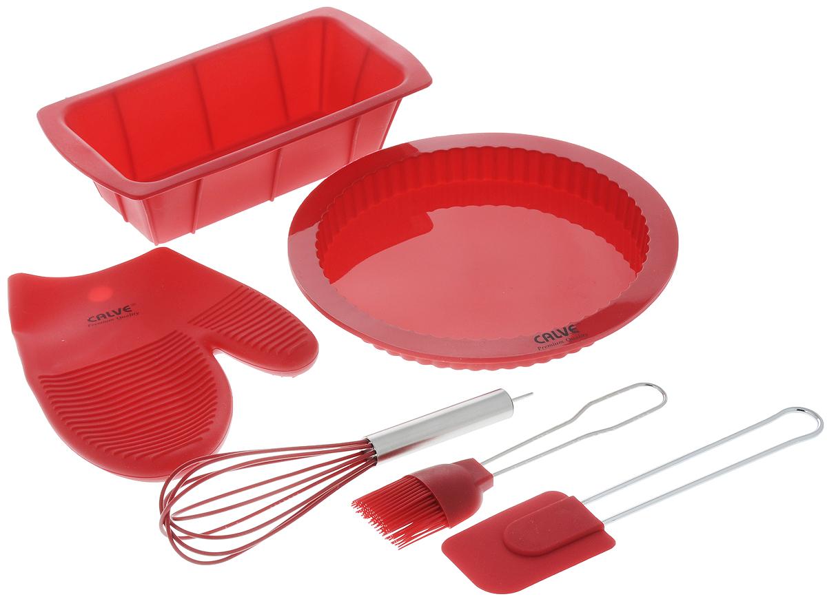 Набор для выпечки Calve, цвет: красный, 6 предметовCL-4548Набор для выпечки Calve состоит из формы для пирога, формы для кекса, прихватки-варежки, венчика, лопатки и кисточки. Это самые востребованные приборы для приготовления выпечки. Все предметы набора выполнены из высококачественного и термостойкого силикона. Ручки лопатки, кисточки и венчика выполнены из нержавеющей стали. Изделия безопасны для посуды с антипригарным и керамическим покрытием. Формы для выпечки можно использовать в духовых шкафах и микроволновых печах, морозильных камерах и мыть в посудомоечной машине.Набор для выпечки Calve станет отличным дополнением к коллекции ваших кухонных аксессуаров. Размер формы для кекса: 26 х 14 х 6,5 см.Диаметр формы для пирога (по верхнему краю): 25,5 см. Размер рабочей поверхности лопатки: 8,5 х 6 х 1 см.Длина лопатки: 25 см.Длина ворса кисти: 4 см.Длина кисти: 21 см.Размер прихватки-варежки: 22 х 17 х 2 см. Размер венчика: 7 х 7 х 25 см.
