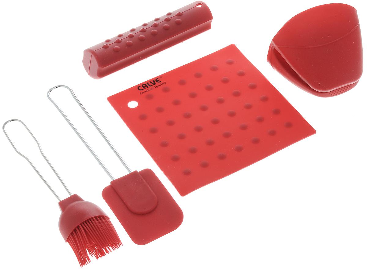 Набор для выпечки Calve, цвет: красный, 5 предметов доска разделочная calve цвет белый красный 31 5 х 20 см