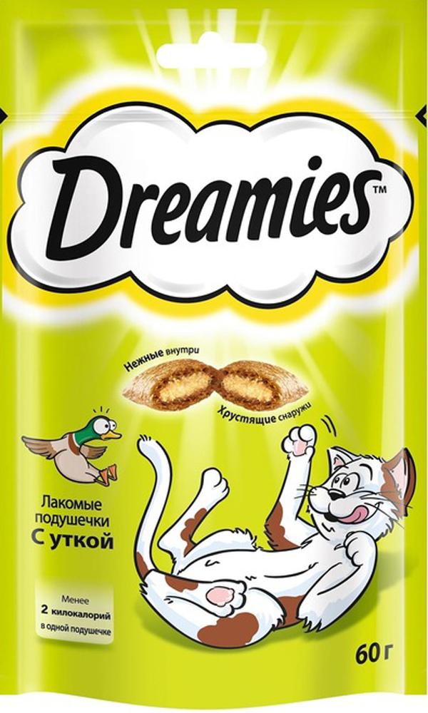 Лакомство для взрослых кошек Dreamies, подушечки с уткой, 60г0120710Незабываемая нежная уточка в хрустящей вкусной подушечке – это достойная награда вашему любимому зверю. Теперь ему не нужно охотиться, стоит только открыть упаковку, и уточка никуда не убежит!