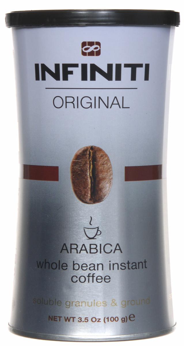 Infiniti Original кофе растворимый гранулированный, 100 г0120710Гранулированный кофе Infiniti Original с добавлением молотого. Бленд лучших сортов Арабики. Средняя обжарка. Сбалансированный кофе с хорошей плотностью, легкими ореховыми нотками и приятным послевкусием. В каждой грануле содержаться частички молотого кофе ультратонкого помола.