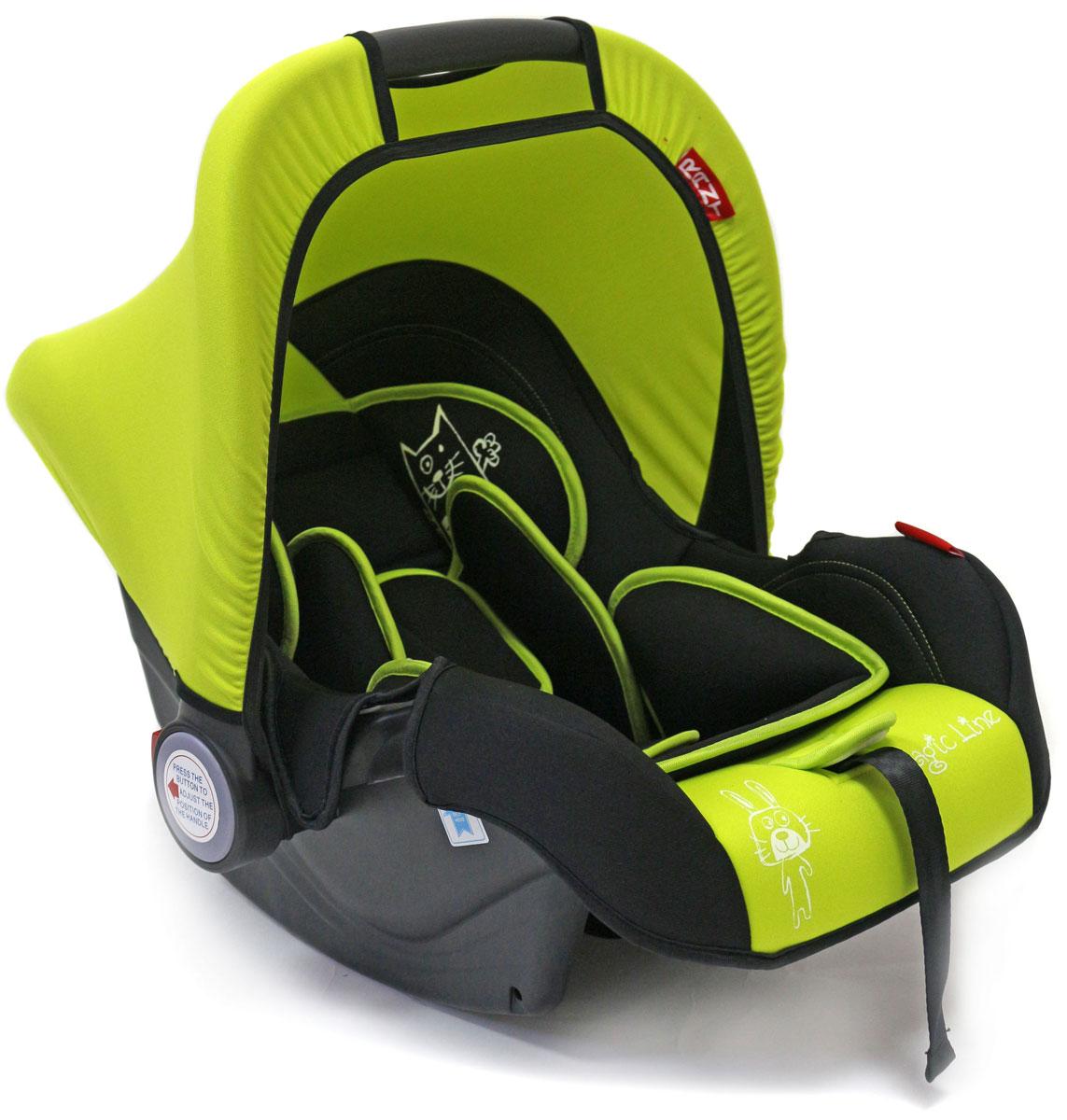 Rant Автокресло Miracle цвет салатовый до 13 кг4630008876640Детское автокресло-переноска Rant Miracle разработано для малышей весом до 13 кг (приблизительно до 12 месяцев).Особенности: Сиденье удобной формы с мягким вкладышем обеспечивает защиту и идеальное положение шеи и спины малыша, а также делает кресло комфортным и безопасным. Автокресло (переноска) Miracle имеет внутренние 3-х точечные ремни безопасности с плечевыми накладками (уменьшают нагрузку на плечи малыша). Накладки обеспечивают плотное прилегание и надежно удержат малыша в кресле в случае ударов. Ремни удобно регулировать под рост и комплекцию ребенка без особых усилий. Удобная ручка для переноски малыша регулируется в 4-х положениях: для устойчивости автокресла в автомобиле, для переноски малыша, вне автомобиля автокресло можно использовать как кресло-качалку или кресло-шезлонг. Съемный тент защитит от яркого солнца или ветра, когда вы гуляете с малышом на свежем воздухе. Съемный чехол автокресла Miracle изготовлен из гипоаллергенной эластичной ткани, легко чистится и стирается вручную или в деликатном режиме в стиральной машине при температуре 30°.Установка и крепление: Автокресло (переноска) Miracle устанавливается лицом против движения автомобиля и крепится штатными автомобильными ремнями. Ребенок фиксируется внутренними ремнями безопасности. Такое положение обеспечивает максимальную безопасность маленькому пассажиру. Рекомендуется устанавливать автокресло на заднем сиденье автомобиля. Производитель допускает перевозку на переднем сиденье, в этом случае необходимо отключить фронтальные подушки безопасности. Автокресло (переноска) Miracle сертифицировано и соответствует европейскому стандарту безопасности ECE R44-04.
