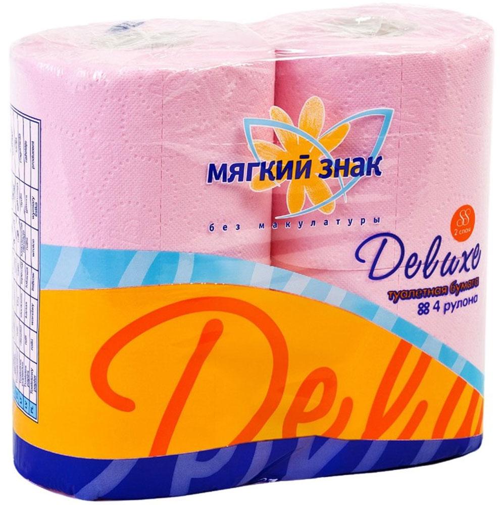Туалетная бумага Мягкий знак Deluxe, двухслойная, цвет: розовый, 4 рулонаC44_розовыйТуалетная бумага Мягкий знак Deluxe, выполненная из натуральной целлюлозы, обеспечивает превосходный комфорт и ощущение чистоты и свежести. Необыкновенно мягкая, но в тоже время прочная, бумага не расслаивается и отрывается строго по линии перфорации. Двухслойные листы имеют рисунок с перфорацией.Количество слоев: 2. Размер листа: 12,5 см х 9,6 см. Состав: 100% целлюлоза.