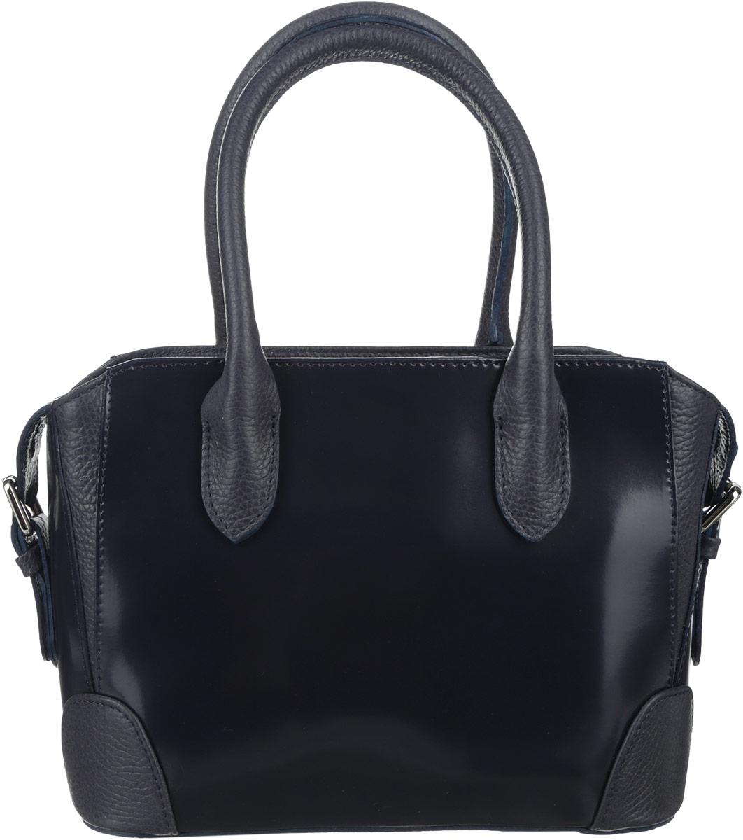 Сумка женская Afina, цвет: темно-синий. 1583-47660-00504Стильная сумка Afina выполнена из натуральной кожи с зернистой фактурой, дополнена вставками из лакированной кожи и металлической фурнитурой.Изделие содержит одно отделение, которое закрывается на молнию. Внутри расположены два накладных кармана, врезной карман, закрывающийся на молнию. Задняя сторона сумки дополнена врезным карманом на молнии. Изделие дополнено съемным плечевым ремнем регулируемой длины и двумя практичными ручками. Дно сумки оснащено металлическими ножками.Сумка Afina прекрасно дополнит образ и подчеркнет ваш неповторимый стиль.