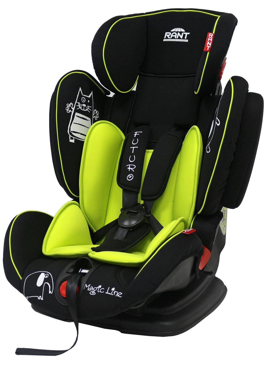 """Автокресло Rant """"Futuro"""" предназначено для детей весом от 9 до 36 кг (приблизительно с 9 месяцев до 12 лет). Кресло совмещает в себе функции 3-х групп (1+2+3). Оно удобно при переходе из одной группы в другую, когда ребенок вырос из одной группы, но мал для другой. Сиденье удобной формы с мягким матрасиком делает кресло комфортным и безопасным для малышей. Усиленная мягкая боковая защита обеспечит безопасность и защитит ребенка от ударов при боковых столкновениях. Для комфортного сна и отдыха в длительных поездках спинка автокресла имеет регулировку наклона в 3-х положениях. Для изменения наклона спинки нет необходимости вынимать ребенка из автокресла, достаточно нажать красную кнопку, расположенную внизу передней части кресла. Автокресло оснащено 5-ти точечными ремнями безопасности с мягкими плечевыми накладками (уменьшают нагрузку на плечи малыша). Накладки обеспечивают плотное прилегание и надежно удержат малыша в кресле в случае ударов. Ремни имеют увеличенную длину, что..."""