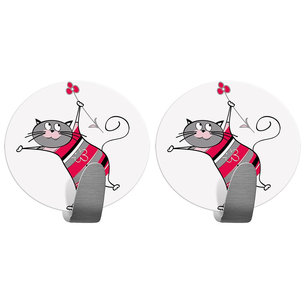Крючок Tatkraft Funny Cats, самоклеющийся68/5/3Tatkraft FUNNY CATS Самоклеющийся крючок из нержавеющей стали. Набор из 2х крючков. Надежная фиксация, . Размер: 55*50 мм. Выдерживает вес до 5 кг. Дизайн Tatkraft, коллекция Funny cats.
