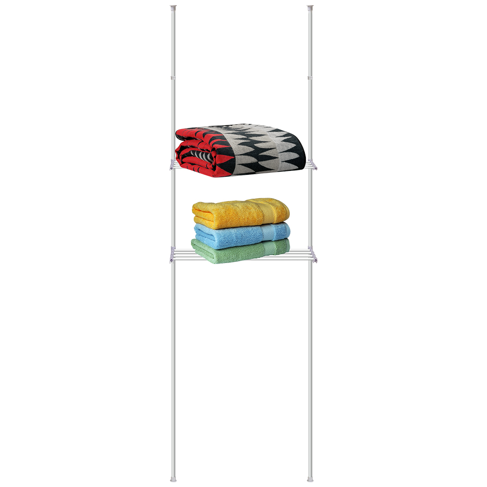 Стойка телескопическая Artmoon Ajaks, с двумя полками, 70,5 x 24 x 245 см699546Телескопическая стойка с двумя полками Artmoon Ajaks изготовлена из стали. Полки из частых прутьев удобно использовать и как сушилку для полотенец, и как полки для организованного хранения.Размер стойки: 70,5 x 24 x 245 см.