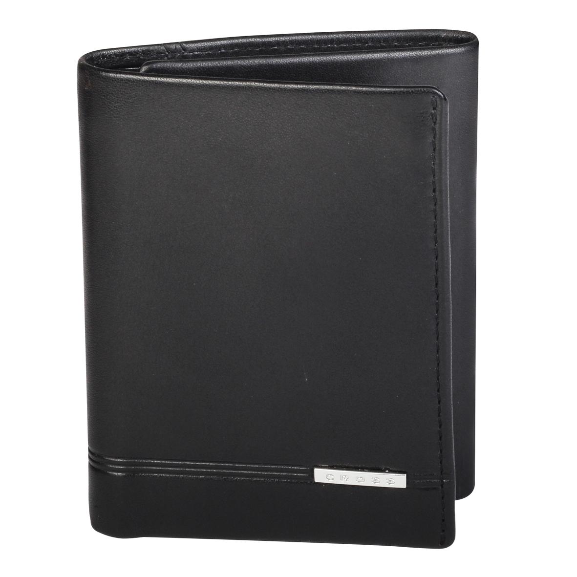 Кошелек мужской Cross, цвет: черный. AC018069-1495350нКошелек. Шесть отделений для кредитных карт.Одно отделение для банкнот. Один карман для документов с окошком. Четыре универсальных кармана.