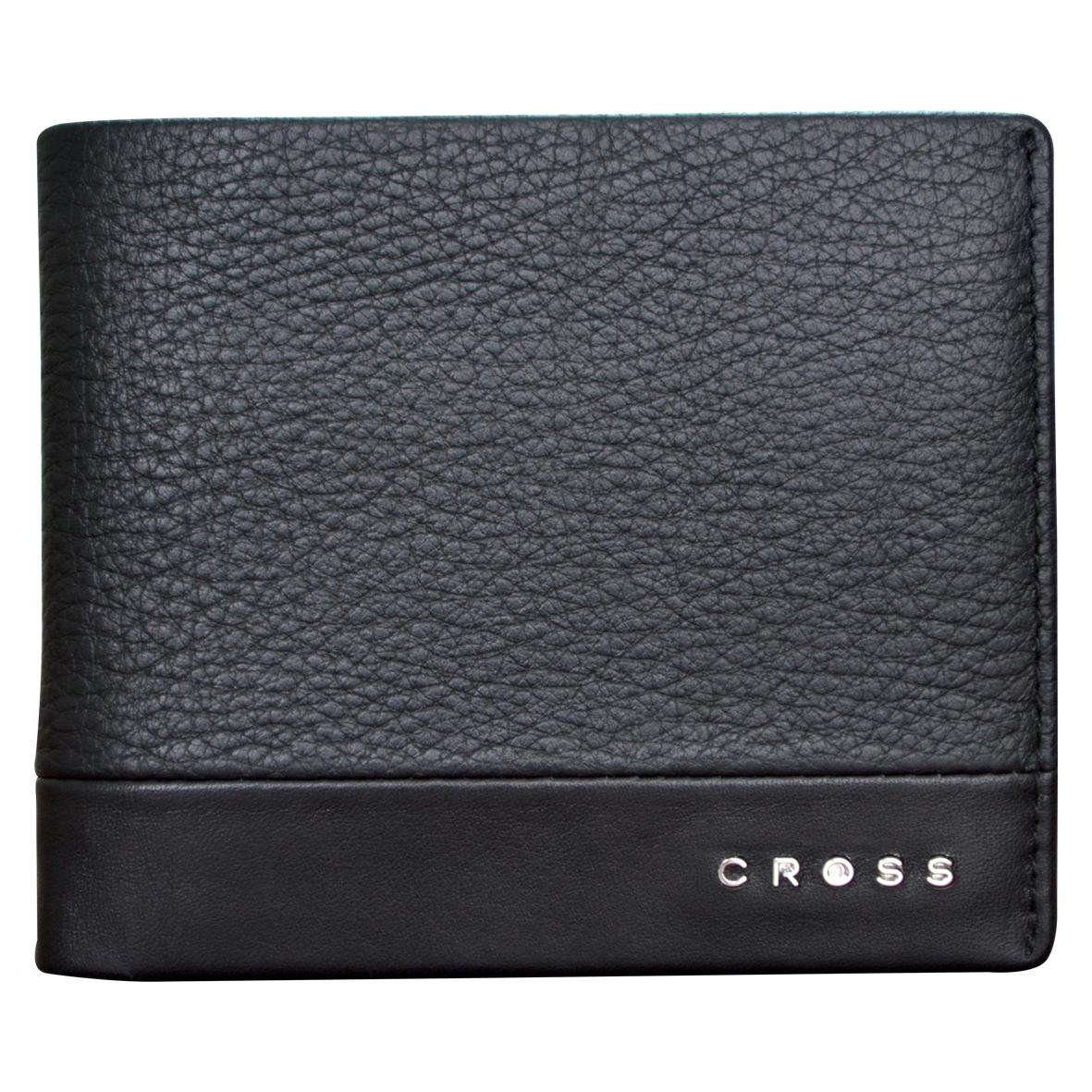 Кошелек мужской Cross, цвет: черный. AC028121-1BM8434-58AEКошелек. Восемь отделений для кредитных карт. Два отделения для банкнот. Два универсальных кармана.