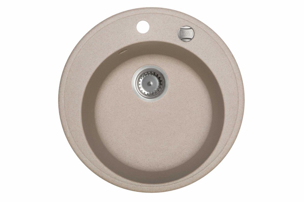 Мойка Iddis Kitchen G, Granucryl, цвет: песочный, диаметр 51 см. K03P511i87STR96PCi77Мойки для кухни Iddis производятся из особого материала Granucryl: 80% натуральной гранитной крошки производства Германии, 20% акриловой смолы. Благодаря этому, он имеет высокую устойчивость к физическим и механическим воздействиям, стойкость к воздействию средств бытовой химии и перепадам температур во время эксплуатации - свойства, необходимые для комфортного и надежного использования мойки на современной кухне.Термостойкость. Granucryl выдерживает температуру до 280С, что позволяет хозяйкам ставить на мойку даже раскаленную посуду во время приготовления пищи. Стойкость цвета. Однородность материала Granucryl и высокотемпературная пигментация гранитной крошки обеспечивает первозданную яркость цвета мойки в течение всего периода эксплуатации. Пигментация происходит во вращающихсяпечах при температуре до 600 градусов. Каждая частица гранита химически связывается с пигментом, получая свой неповторимый цвет. При этом цвет никогда не выцветает и не может быть удален с поверхности мойки.Практичность.Мелкие царапины, образующиеся при использовании, не видны на мойках IDDIS благодаря однородной структуре и пигментации гранитной крошки материала Granucryl. Гигиеничность.Состав материала Granucryl препятствует размножению бактерий на поверхности моек, что гарантирует их безопасность в условиях повышенной влажности кухни. Гигиеничность материала Granucryl подтверждена немецким институтом гигиены.Мойки Granucryl имеют полный комплект для установки: шаблон для выреза отверстия в столешнице, крепления, автоматический выпуск с переливом и плоский сифон с возможностью подключения посудомоечной или стиральной машины. Наличие готовых отверстий под смеситель и кнопку донного клапана позволяет быстро и легко установить эти изделия на мойку.Мойки Granucryl, благодаря составу материала, а также толщине 10 мм, поглощают шум воды. Гарантия на мойки Granucryl торговой марки Iddis составляет 10 лет.Мойки G