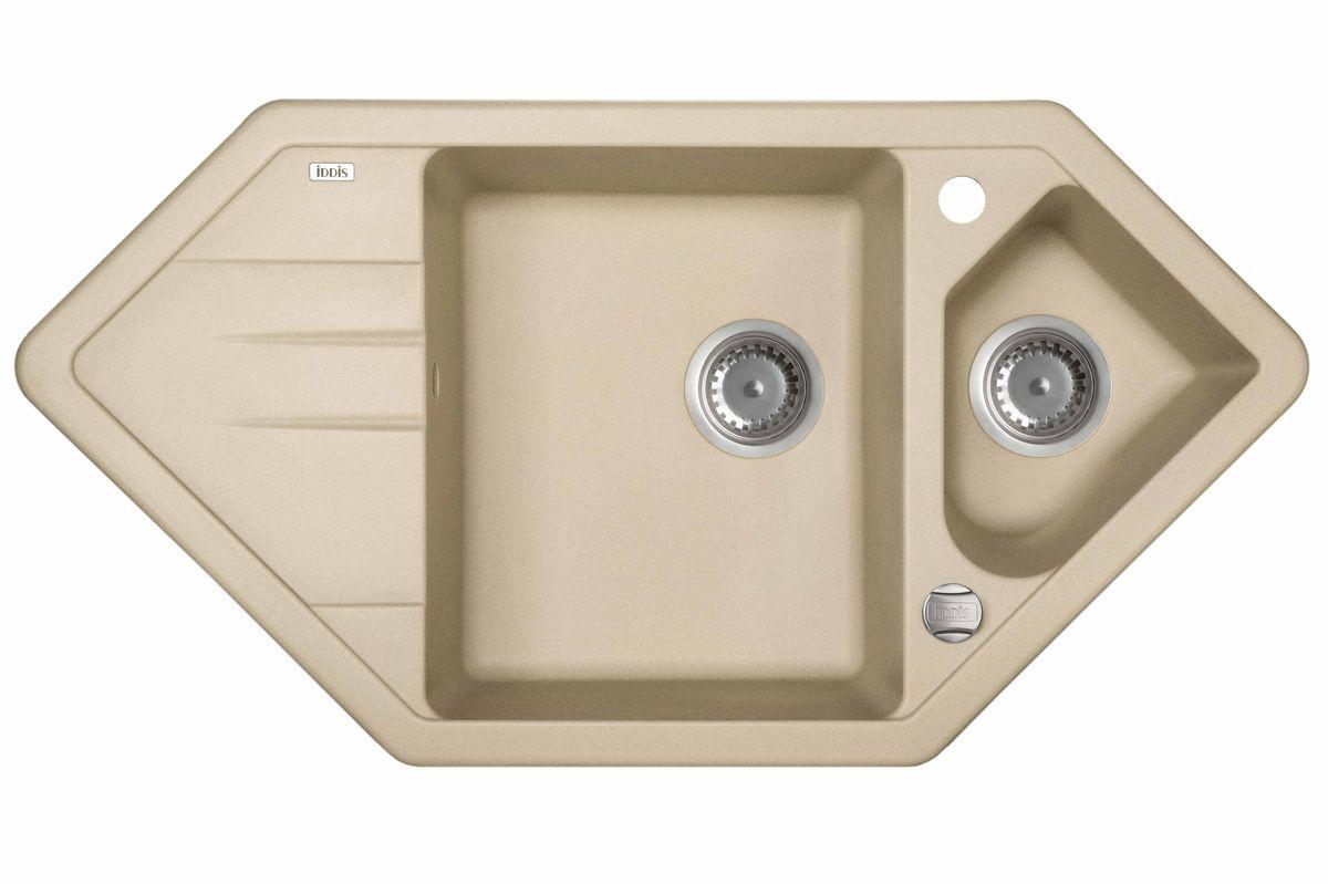 Мойка Iddis Vane G, Granucryl, угловая, 1, 1/2 чаши, цвет: светло-бежевый, 96 х 50 см. V29S965i87STR96PCi77Мойки для кухни Iddis производятся из особого материала Granucryl: 80% натуральной гранитной крошки производства Германии, 20% акриловой смолы. Благодаря этому, он имеет высокую устойчивость к физическим и механическим воздействиям, стойкость к воздействию средств бытовой химии и перепадам температур во время эксплуатации - свойства, необходимые для комфортного и надежного использования мойки на современной кухне.Термостойкость. Granucryl выдерживает температуру до 280С, что позволяет хозяйкам ставить на мойку даже раскаленную посуду во время приготовления пищи. Стойкость цвета. Однородность материала Granucryl и высокотемпературная пигментация гранитной крошки обеспечивает первозданную яркость цвета мойки в течение всего периода эксплуатации. Пигментация происходит во вращающихсяпечах при температуре до 600 градусов. Каждая частица гранита химически связывается с пигментом, получая свой неповторимый цвет. При этом цвет никогда не выцветает и не может быть удален с поверхности мойки.Практичность.Мелкие царапины, образующиеся при использовании, не видны на мойках IDDIS благодаря однородной структуре и пигментации гранитной крошки материала Granucryl. Гигиеничность.Состав материала Granucryl препятствует размножению бактерий на поверхности моек, что гарантирует их безопасность в условиях повышенной влажности кухни. Гигиеничность материала Granucryl подтверждена немецким институтом гигиены.Глубина чаши моек Granucryl составляет 210 и 165 мм, размеры 360 х 430 и 255 х 205 мм.Мойки Granucryl имеют полный комплект для установки: шаблон для выреза отверстия в столешнице, крепления, автоматический выпуск с переливом и плоский сифон с возможностью подключения посудомоечной или стиральной машины. Наличие готовых отверстий под смеситель и кнопку донного клапана позволяет быстро и легко установить эти изделия на мойку.Мойки Granucryl, благодаря составу материала, а также т