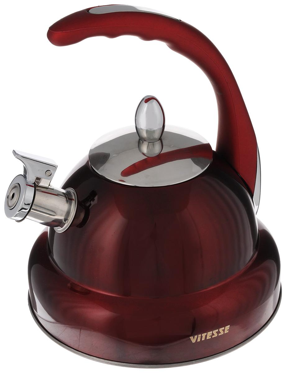 Чайник Vitesse, со свистком, цвет: красный, 3 л. VS-111754 009312Чайник Vitesse изготовлен из высококачественной нержавеющей стали 18/10. Внешнее цветное термостойкое покрытие корпуса придает изделию безупречный внешний вид. Многослойное капсулированное термоаккумулирующее дно позволяет чайнику нагреваться быстрее и дольше сохранять тепло. Изделие оснащено бакелитовой ручкой эргономичной формы с покрытием Soft-Touch, также имеет откидной свисток, громко оповещающий о закипании воды. Можно использовать на газовых, электрических, стеклокерамических, галогенных, индукционных плитах. Можно мыть в посудомоечной машине.Диаметр (по верхнему краю): 10 см.Диаметр основания: 22 см.Высота чайника (без учета ручки и крышки): 13 см.Высота чайника (с учетом ручки и крышки): 26 см.Диаметр индукционного диска: 17,5 см.