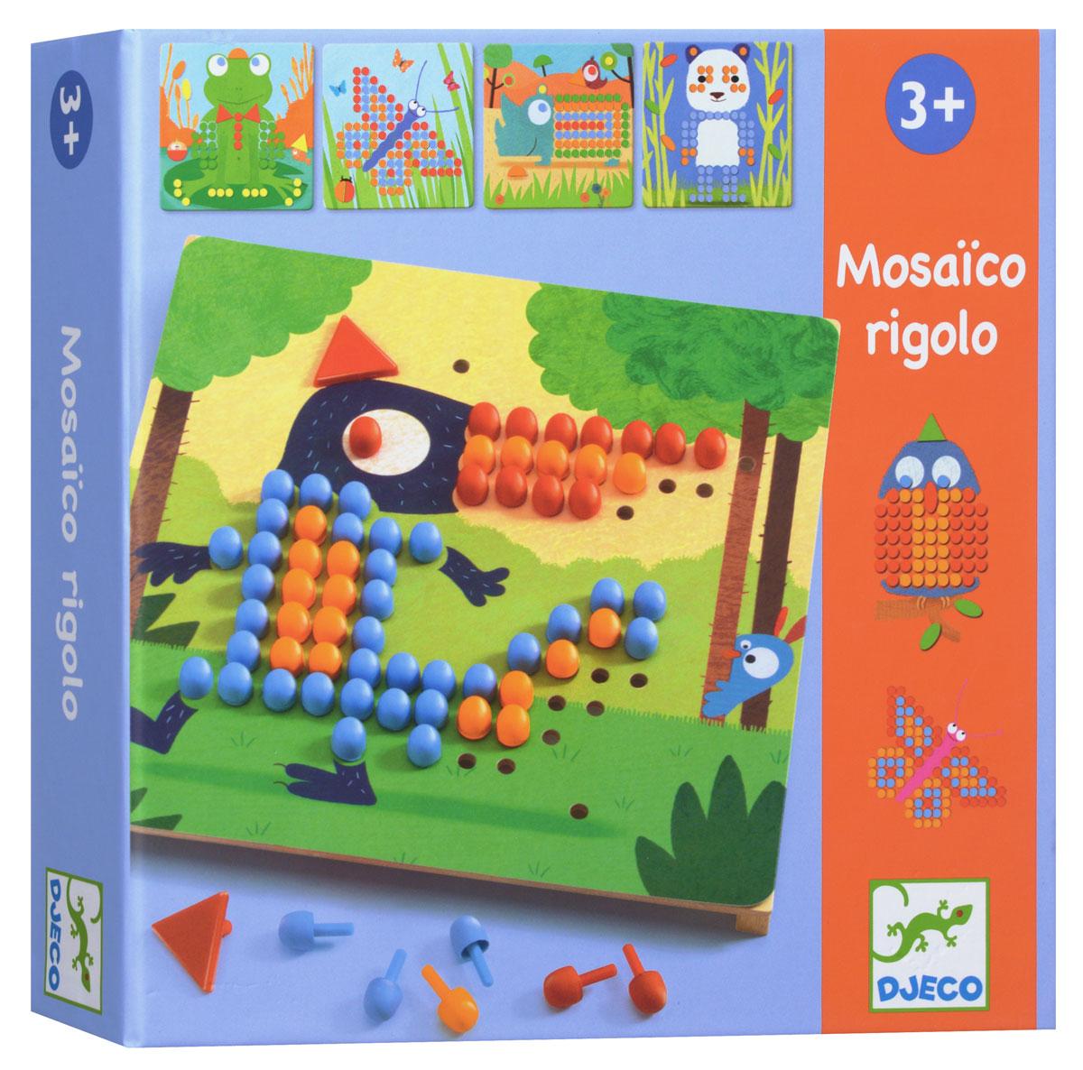 """Мозаика """"Риголо"""" от французского производителя Djeco станет увлекательной развивающей игрушкой для каждого малыша. В комплекте ребенок найдет деревянную основу, красочные карточки с заданиями и множество пластиковых гвоздиков разной формы и цветов. Ребенок должен собрать картинку согласно инструкции, в результате чего у него получатся забавная лягушка, красивая бабочка, милая панда и другие животные и насекомые. Игра развивает мелкую моторику, логическое мышление, сообразительность и внимательность ребенка, учит его усидчивости и терпению."""