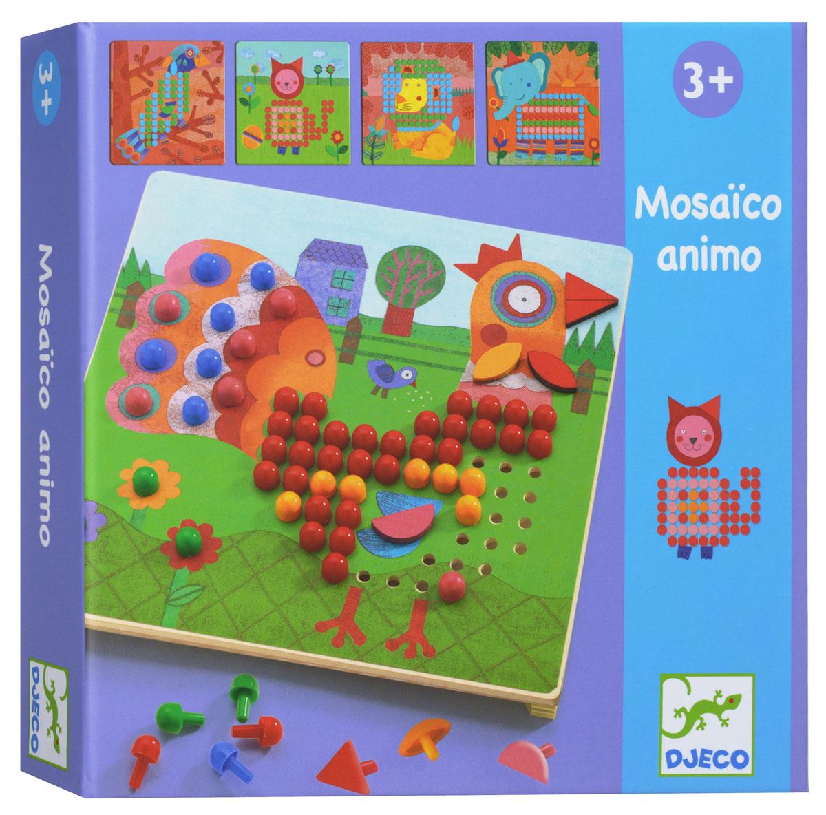 """Мозаика """"Животные"""" от французского производителя Djeco станет увлекательной развивающей игрушкой для каждого малыша. В комплекте ребенок найдет деревянную основу, красочные карточки с заданиями и множество пластиковых гвоздиков разной формы и цветов. Ребенок должен собрать картинку согласно инструкции, в результате чего у него получатся яркий петушок, забавный слоненок, красочный львенок и другие животные и насекомые. Игра развивает мелкую моторику, логическое мышление, сообразительность и внимательность ребенка, учит его усидчивости и терпению."""