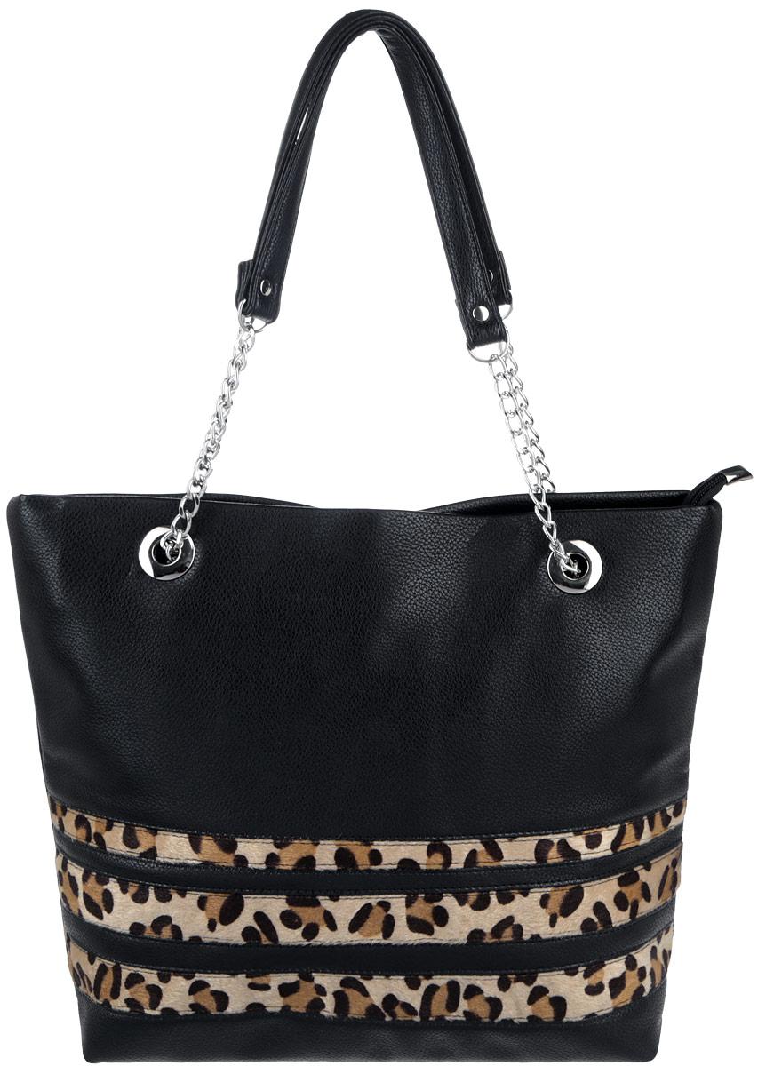 Сумка женская Antan, цвет: черный. 822/2S76245Стильная сумка Antan изготовлена из искусственной кожи с зернистой фактурой, оформлена вставками из искусственного меха с леопардовым принтом.Изделие содержит одно отделение, которое закрывается на застежку-молнию. Внутри изделия расположены два накладных кармашка для мелочей и врезной карман на молнии. Изделие оснащено двумя практичными ручками, которые дополнены металлической фурнитурой.Оригинальный аксессуар позволит вам завершить образ и быть неотразимой.
