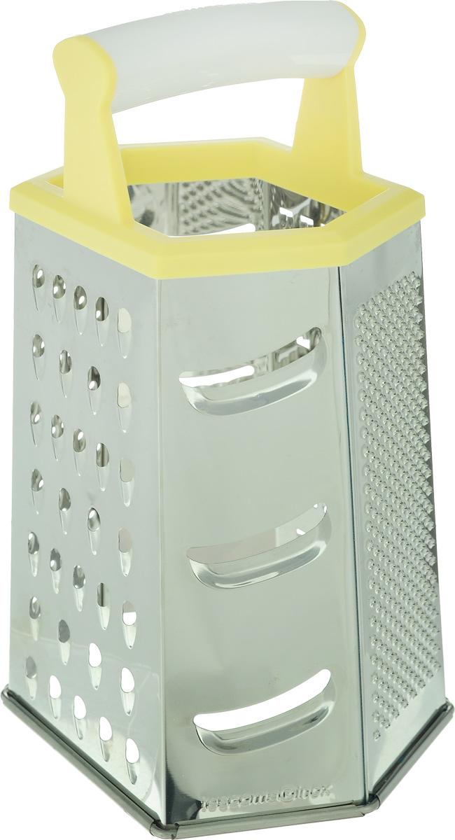 Терка шестигранная Tescoma Handy, цвет: желтый, стальной, высота 22 см68/5/4Шестигранная терка Tescoma Handy, выполненная из высококачественной нержавеющей стали с зеркальной полировкой, станет незаменимым атрибутом приготовления пищи. Сверху на терке расположена удобная пластиковая ручка. Терка замечательна для простого и быстрого измельчения и нарезки продуктов на ломтики. На одном изделии представлены шесть видов терок - крупная, мелкая, терка для овощных пюре, фигурная, шинковка и шинковка фигурная. Современный стильный дизайн позволит терке занять достойное место на вашей кухне.Можно мыть в посудомоечной машине.