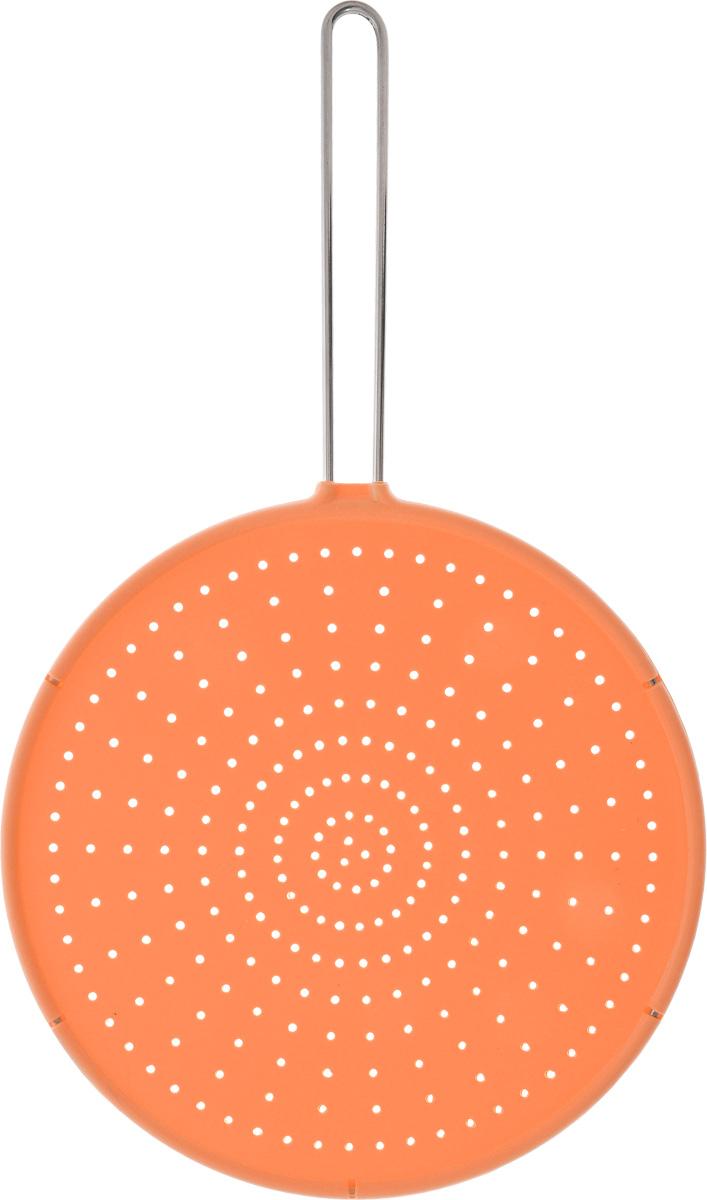 Брызгогаситель Tescoma Fusion, цвет: оранжевый, диаметр 28 смFS-91909Сито охранное Tescoma Fusion замечательно оберегает плиту от загрязнения при жарке. Предназначено для сковород и посуды диаметром 28 см и меньше. Выполнено из первоклассного силикона, термостойкость от -40°С до +230°С. Ручка изготовлена из нержавеющей стали.Можно мыть в посудомоечной машине.Диаметр сита: 28 см.Длина ручки: 18,5 см.
