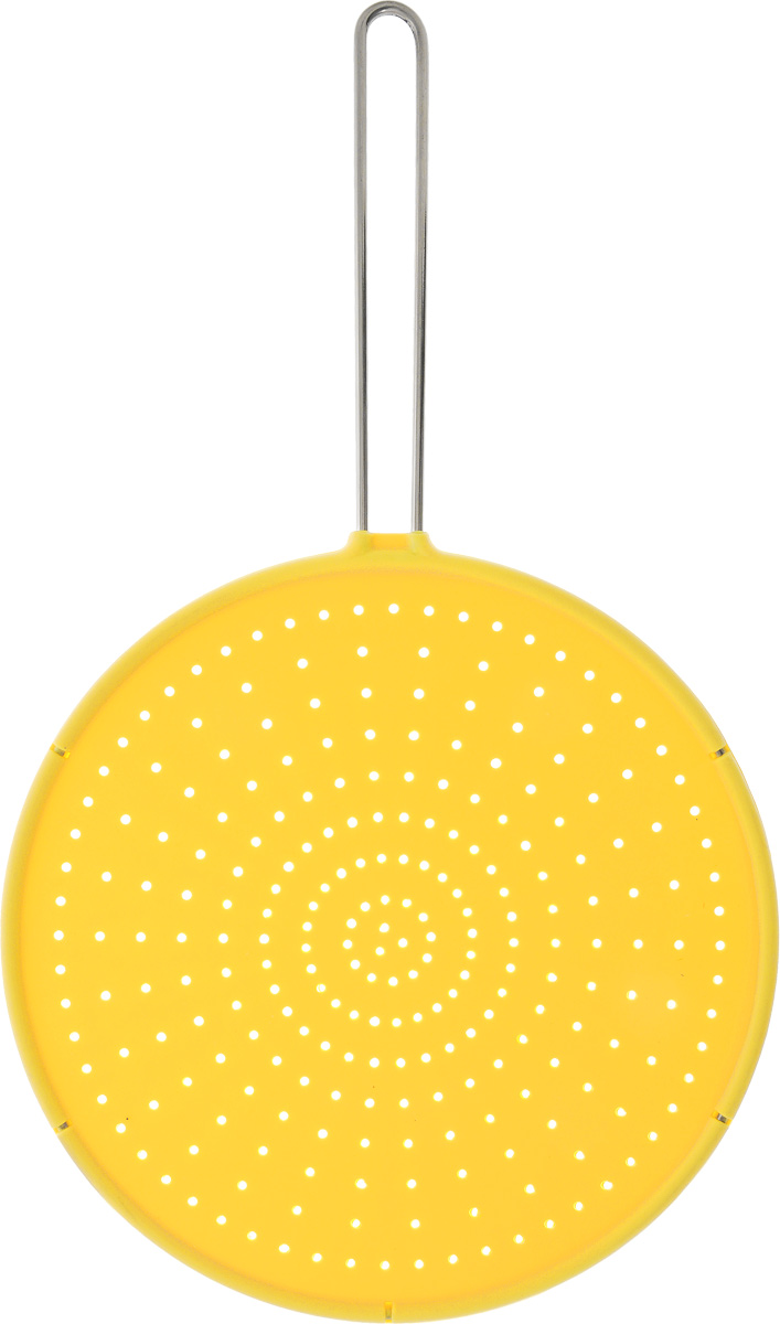 Брызгогаситель Tescoma Fusion, цвет: желтый, диаметр 28 смFS-91909Сито охранное Tescoma Fusion замечательно оберегает плиту от загрязнения при жарке. Предназначено для сковород и посуды диаметром 28 см и меньше. Выполнено из первоклассного силикона, термостойкость от -40°С до +230°С. Ручка изготовлена из нержавеющей стали.Можно мыть в посудомоечной машине.Диаметр сита: 28 см.Длина ручки: 18,5 см.