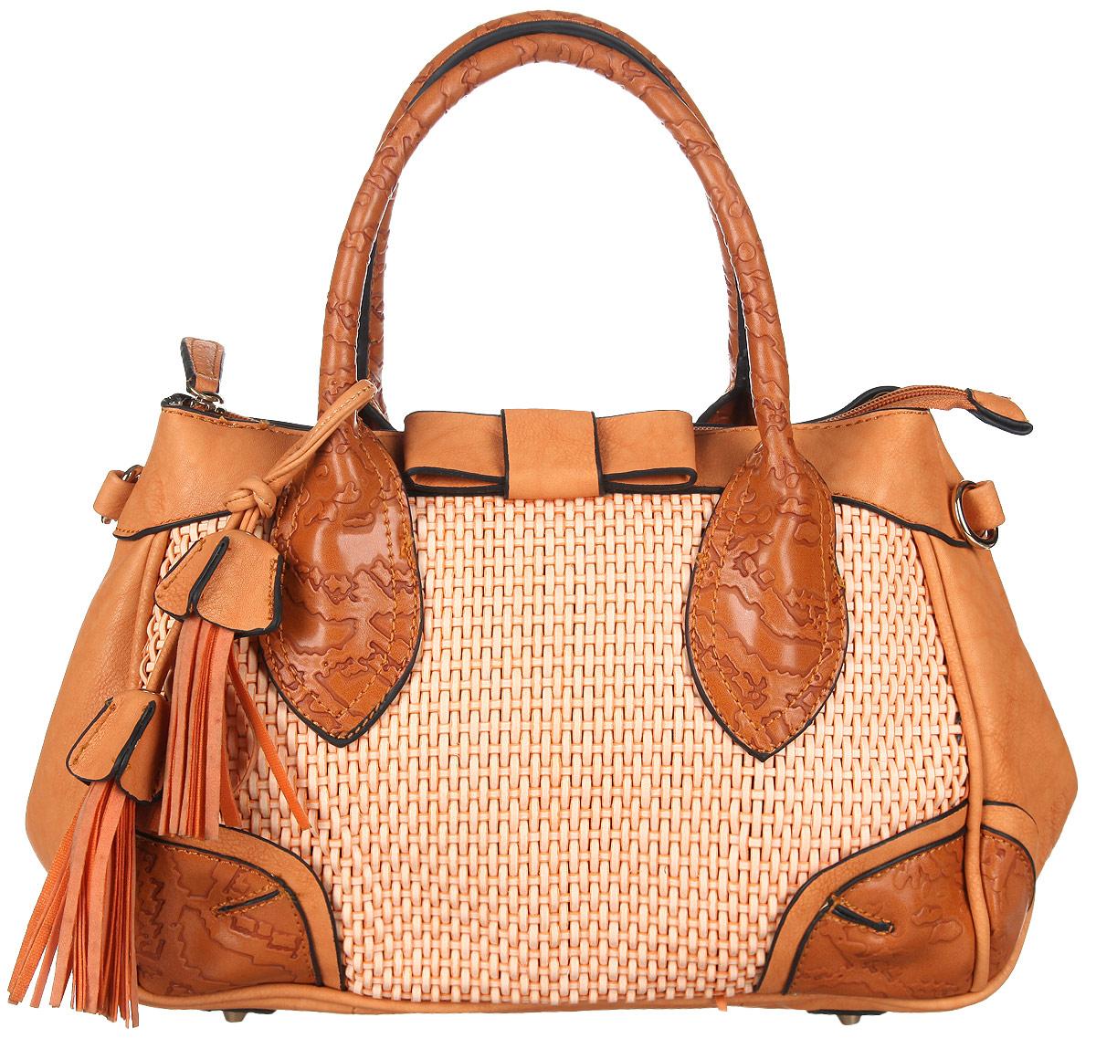Сумка женская Orsa Oro, цвет: оранжевый. DK-329/11ML597BUL/DСтильная женская сумка Orsa Oro выполнена из искусственной кожи, оформлена оригинальной подвеской, фактурным тиснением и вставкой из искусственной кожи с декоративным плетением.Изделие содержит одно отделение, которое закрывается на молнию. Внутри расположены: два накладных кармашка для мелочей и врезной карман на молнии. Сумка оснащена съемным плечевым ремнем регулируемой длины, а также двумя практичными ручками. Дно сумки дополнено металлическими ножками.Оригинальный аксессуар позволит вам завершить образ и быть неотразимой.