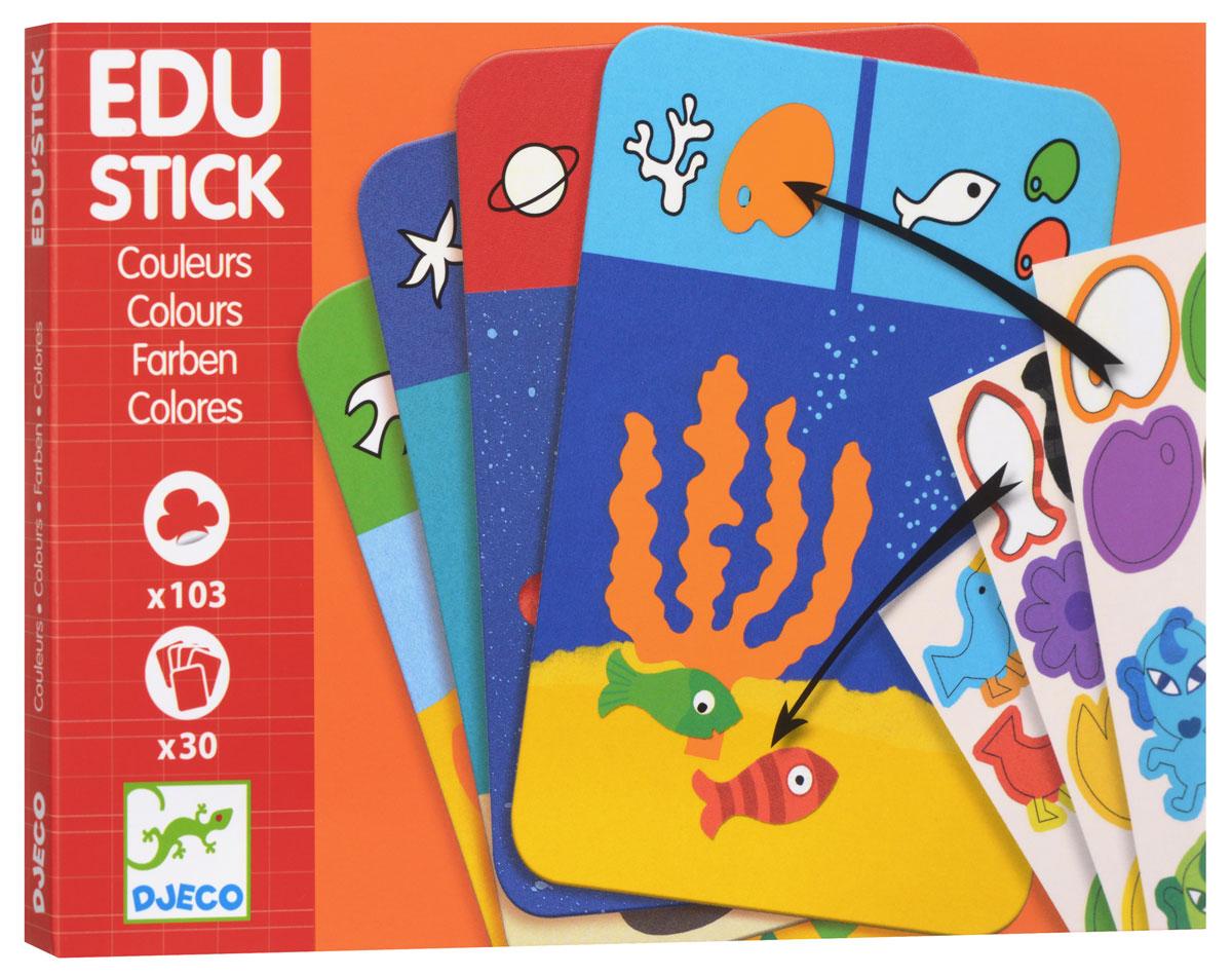 """Набор обучающих наклеек Djeco """"Цвета"""" - превосходная игра на логику, с помощью которой малыш сможет сформировать понимание о различии цветов. В набор входят красочные интересные карточки, а также листы с наклейками. Карточки состоят из двух заданий. Смысл первого задания состоит в том, чтобы наклеить такой цвет, который соответствует изображению фигуры на карточке. Второе задание карточки просит малыша наклеить на карточку фигуры такого же цвета, какое указано в задании. Игра обучает ребенка разным цветам, развивает логическое мышление и сообразительность, тренирует моторику детских ручек и учит малыша внимательности и усидчивости."""