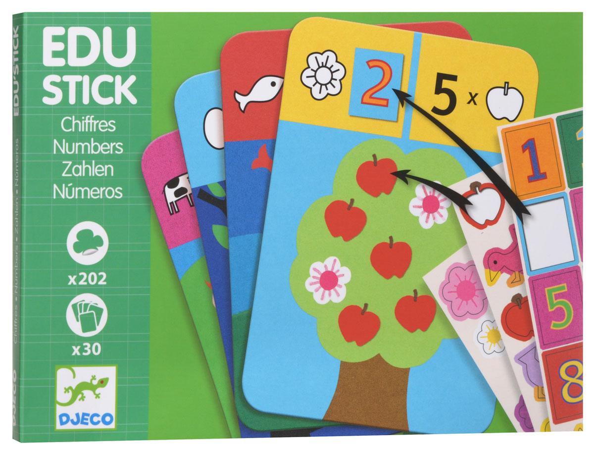 """Набор обучающих наклеек Djeco """"Цифры"""" - превосходная игра на логику, с помощью которой малыш сможет сформировать понимание о цифрах. В набор входят красочные интересные карточки, а также листы с наклейками. Карточки состоят из двух заданий. Смысл первого задания состоит в том, чтобы сосчитать количество фигур на карточке и наклеить соответствующую цифру. Второе задание карточки просит малыша наклеить такое количество фигур на карточку, какое изображено цифрой. Игра обучает ребенка цифрам, развивает логическое мышление и сообразительность, тренирует моторику детских ручек и учит малыша внимательности и усидчивости."""