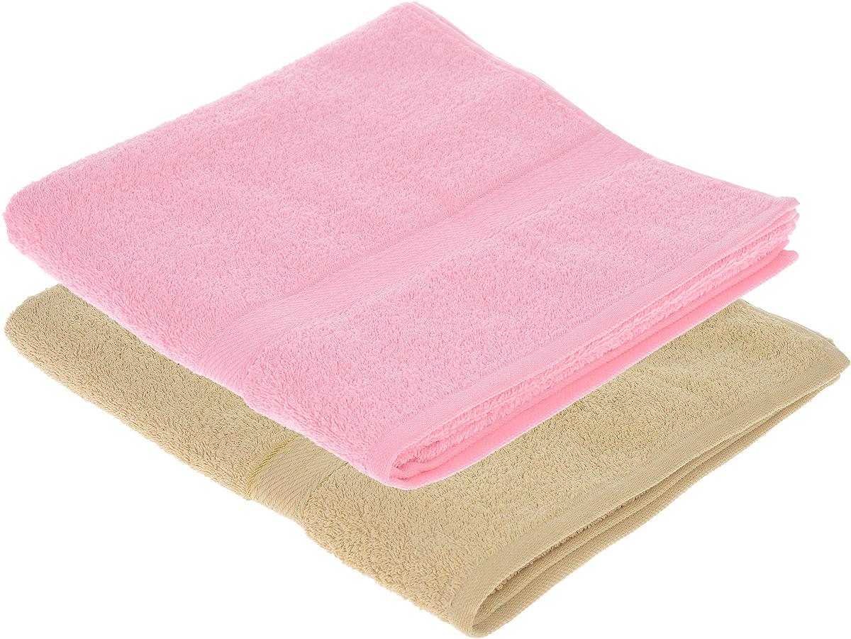 Набор махровых полотенец Aisha Home Textile, цвет: розовый, светло-коричневый, 70 х 140 см, 2 штC0042416Набор Aisha Home Textile состоит из двух махровых полотенец, выполненных из натурального 100% хлопка. Изделия отлично впитывают влагу, быстро сохнут, сохраняют яркость цвета и не теряют формы даже после многократных стирок.Полотенца Aisha Home Textile очень практичны и неприхотливы в уходе. Комплектация: 2 шт.