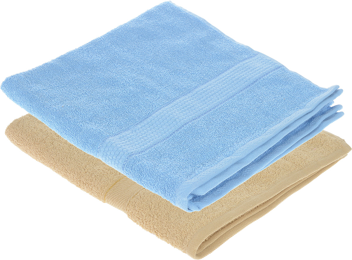 Набор махровых полотенец Aisha Home Textile, цвет: бежевый, голубой, 70 х 140 см, 2 шт391602Набор Aisha Home Textile состоит из двух махровых полотенец, выполненных из натурального 100% хлопка. Изделия отлично впитывают влагу, быстро сохнут, сохраняют яркость цвета и не теряют формы даже после многократных стирок.Полотенца Aisha Home Textile очень практичны и неприхотливы в уходе. Комплектация: 2 шт.