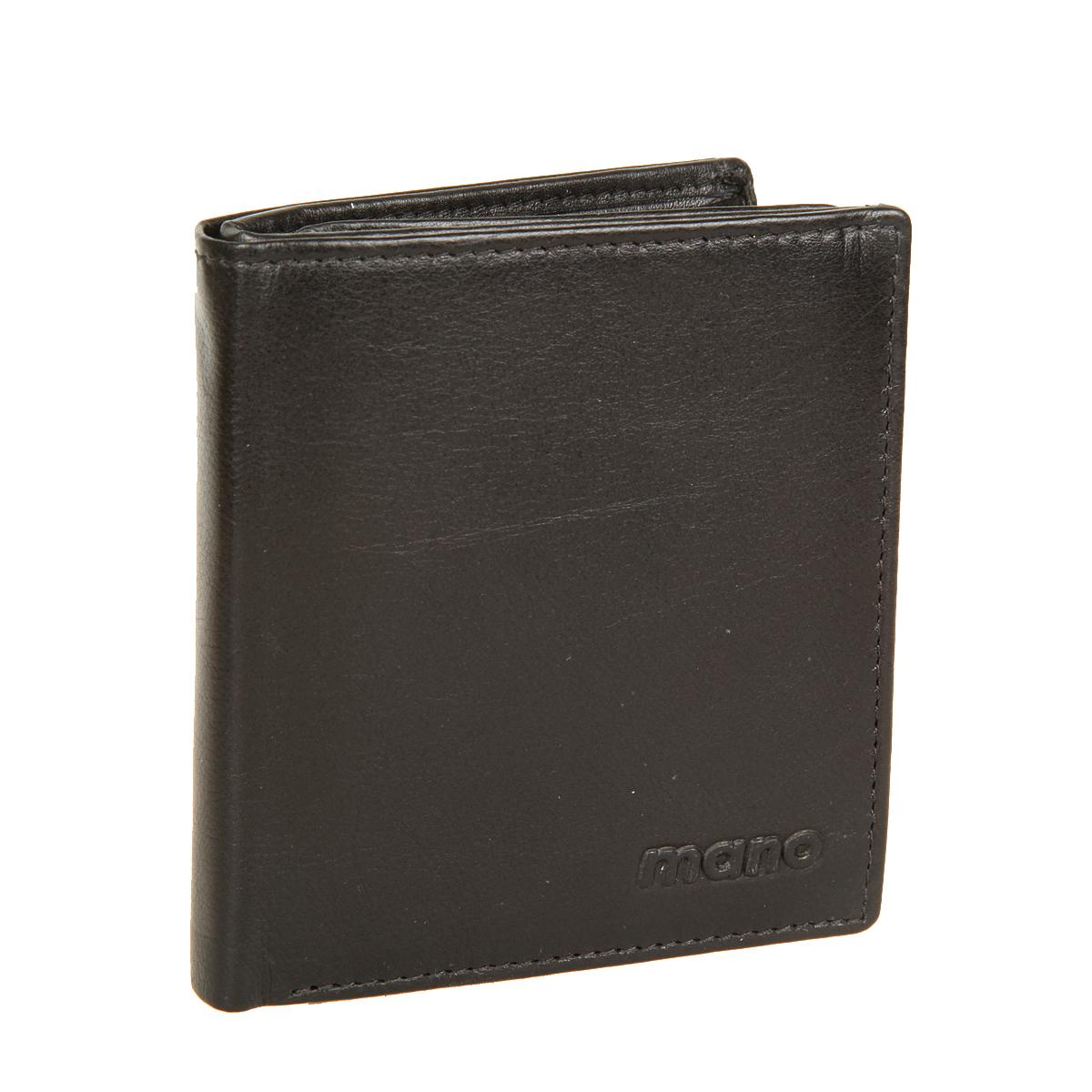 Портмоне мужское Mano, цвет: черный. 1830611379793-GRNКомпактное мужское портмоне Mano изготовлено из натуральной кожи, оформлено тиснением с символикой бренда.Изделие раскладывается пополам, внутри расположены два отделения для купюр, сетчатый карман, потайной карман на молнии, шесть прорезных карманов для пластиковых карт, кармашек для мелких документов и отделение для монет, закрывающееся клапаном на кнопку. Изделие поставляется в фирменной упаковке.Такое практичное портмоне станет отличным подарком для человека, ценящего качественные и необычные вещи.