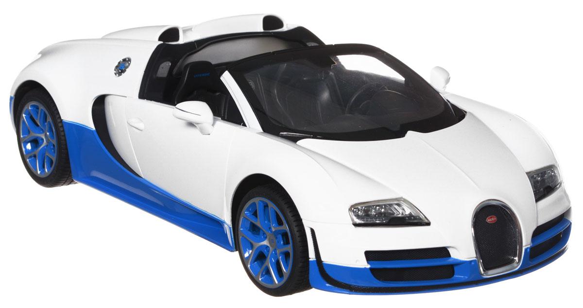 """Радиоуправляемая модель Rastar """"Bugatti Veyron 16.4 Grand Sport Vitesse"""" станет отличным подарком любому мальчику! Все дети хотят иметь в наборе своих игрушек ослепительные, невероятные и крутые автомобили на радиоуправлении. Тем более, если это автомобиль известной марки с проработкой всех деталей, удивляющий приятным качеством и видом. Одной из таких моделей является автомобиль на радиоуправлении Rastar """"Bugatti Veyron 16.4 Grand Sport Vitesse"""". Это точная копия настоящего авто в масштабе 1:14. Авто обладает неповторимым провокационным стилем и спортивным характером. Потрясающая маневренность, динамика и покладистость - отличительные качества этой модели. Возможные движения: вперед, назад, вправо, влево, остановка. Имеются световые эффекты. Для работы игрушки необходимы 5 батареек типа АА (не входят в комплект). Для работы пульта управления необходима 1 батарейка 9V (6F22) (не входит в комплект)."""