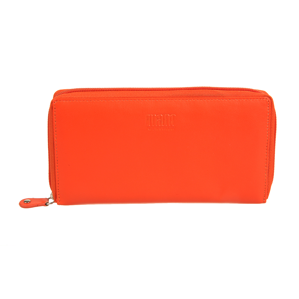 Портмоне женское Mano, цвет: оранжевый. 14659 orangeINT-06501закрывается по периметру на молниювнутри четыре отдела для купюркарман для мелочи на молниивосемь кармашков для пластиковых картдва кармана для документов