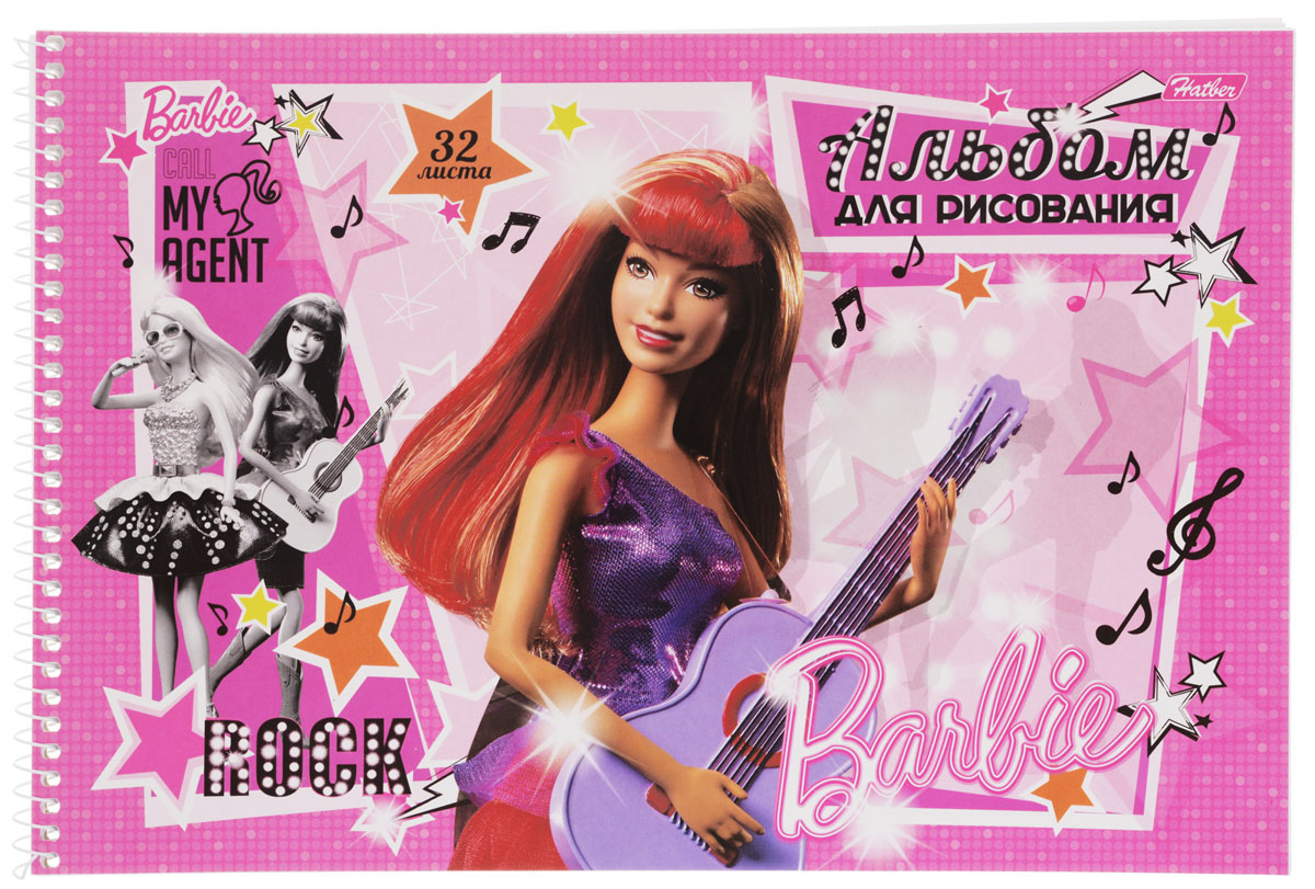 Hatber Альбом для рисования Barbie с гитарой цвет розовый сиреневый 32 листа72523WDАльбом для рисования Hatber Barbie непременно порадует маленькую художницу и вдохновит ее на творчество. Альбом изготовлен из белоснежной офсетной бумаги с яркой обложкой из мелованного картона, оформленной изображением Барби с гитарой. Высокое качество бумаги позволяет рисовать в альбоме карандашами, фломастерами, акварельными и гуашевыми красками. Рекомендуемый возраст: 0+.