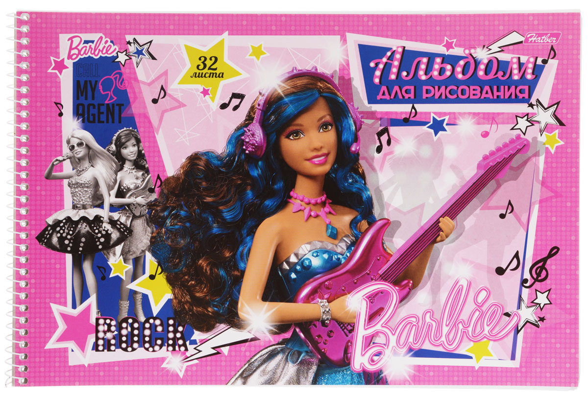 Hatber Альбом для рисования Barbie с гитарой цвет розовый синий 32 листа72523WDАльбом для рисования Hatber Barbie непременно порадует маленькую художницу и вдохновит ее на творчество. Альбом изготовлен из белоснежной офсетной бумаги с яркой обложкой из мелованного картона, оформленной изображением Барби с гитарой. Высокое качество бумаги позволяет рисовать в альбоме карандашами, фломастерами, акварельными и гуашевыми красками. Рекомендуемый возраст: 0+.