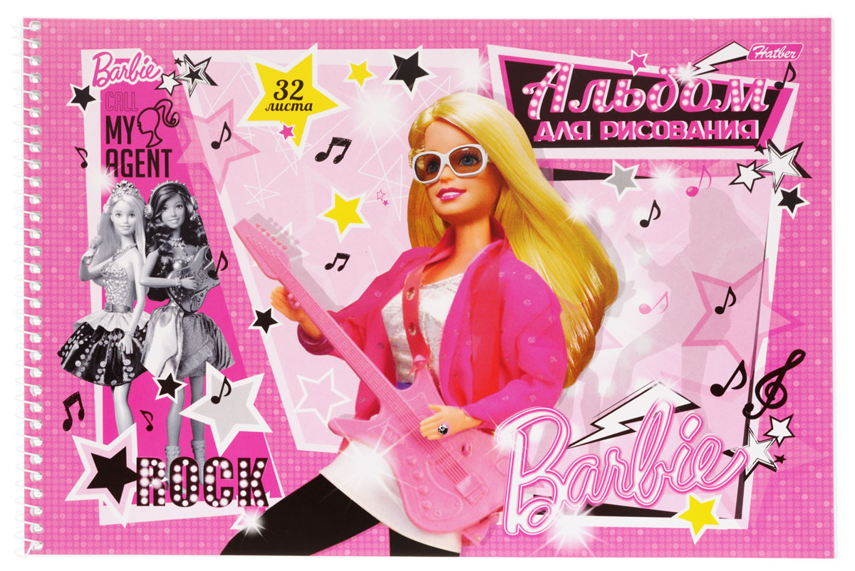 Hatber Альбом для рисования Barbie с гитарой цвет розовый 32 листа32А4Bсп_14007Альбом для рисования Hatber Barbie непременно порадует маленькую художницу и вдохновит ее на творчество. Альбом изготовлен из белоснежной офсетной бумаги с яркой обложкой из мелованного картона, оформленной изображением Барби с гитарой. Высокое качество бумаги позволяет рисовать в альбоме карандашами, фломастерами, акварельными и гуашевыми красками. Рекомендуемый возраст: 0+.