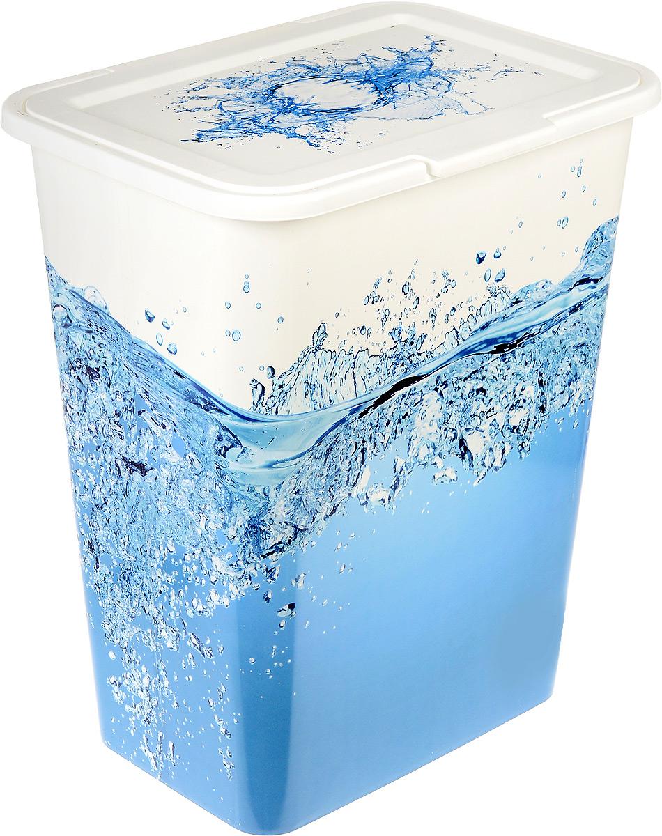 Корзина для белья Idea, цвет: белый, голубой, 50 л. М 2612391602Корзина для белья Idea изготовлена из высокопрочного износостойкого пластика и оформлена красочным рисунком. Предназначена для хранения грязного белья перед стиркой. Изделие снабжено удобной крышкой. Благодаря яркому необычному дизайну, такая корзина станет настоящим украшением ванной комнаты.