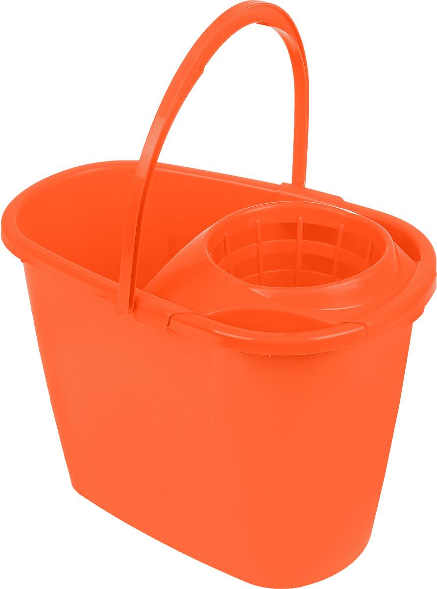 Ведро для уборки Centi, с насадкой для отжима швабры, цвет: оранжевый, 8 л7008_оранжевыйВедро Centi, изготовленное из прочного пластика, порадует практичных хозяек. Изделие снабжено специальной насадкой, которая обеспечивает интенсивный отжим ленточных швабр. Это значительно уменьшает физические нагрузки при мытье полов. Насадка надежно крепится на ведро и также легко снимается, позволяя хранить ее отдельно. Для удобного использования ведро оснащено эргономичной ручкой.Размер ведра (по верхнему краю): 32,5 х 21 см.Высота: 24 см.