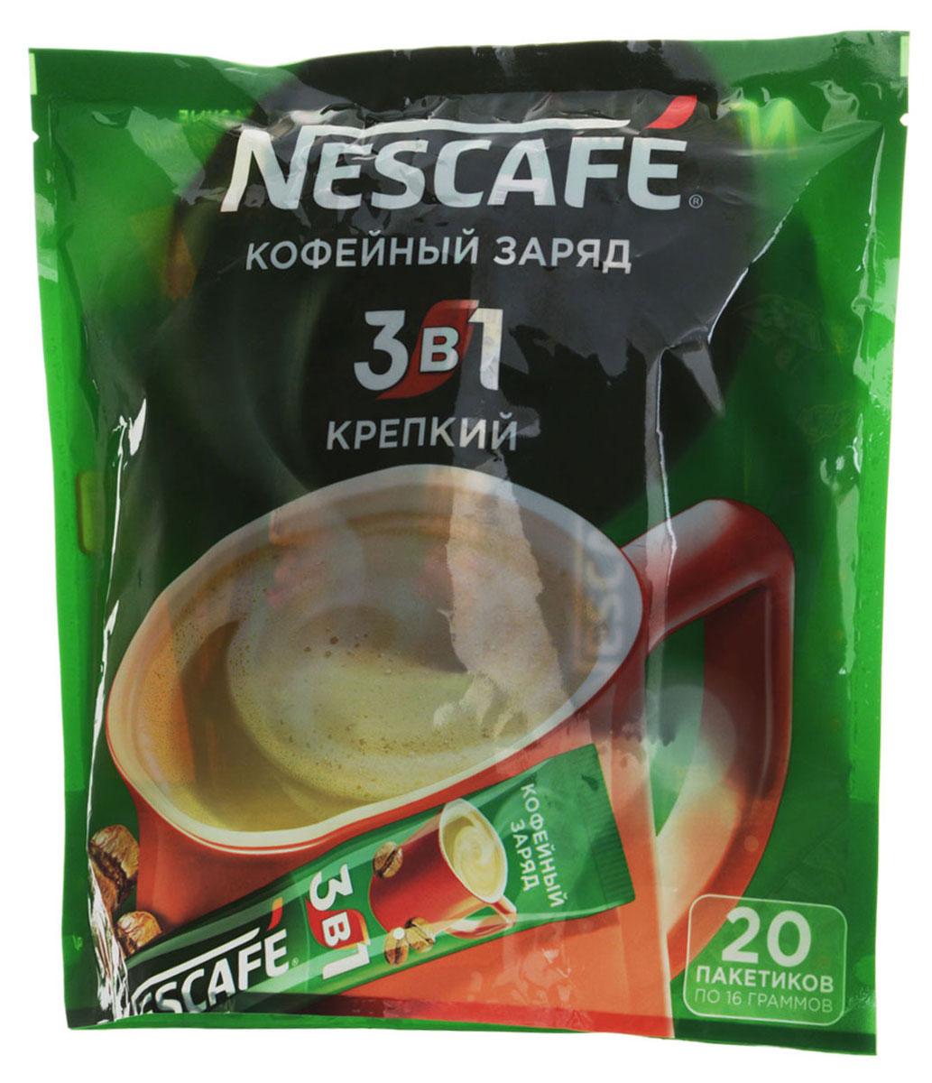 Nescafe 3 в 1 Крепкий кофе растворимый, 20 шт0120710Nescafe 3 в 1 Крепкий - кофейно-сливочный напиток, в состав которого входят высококачественные ингредиенты: кофе Nescafe, сахар, сливки растительного происхождения. Каждый пакетик Nescafe 3 в 1 подарит вамидеальное сочетание кофе, сливок, сахара!
